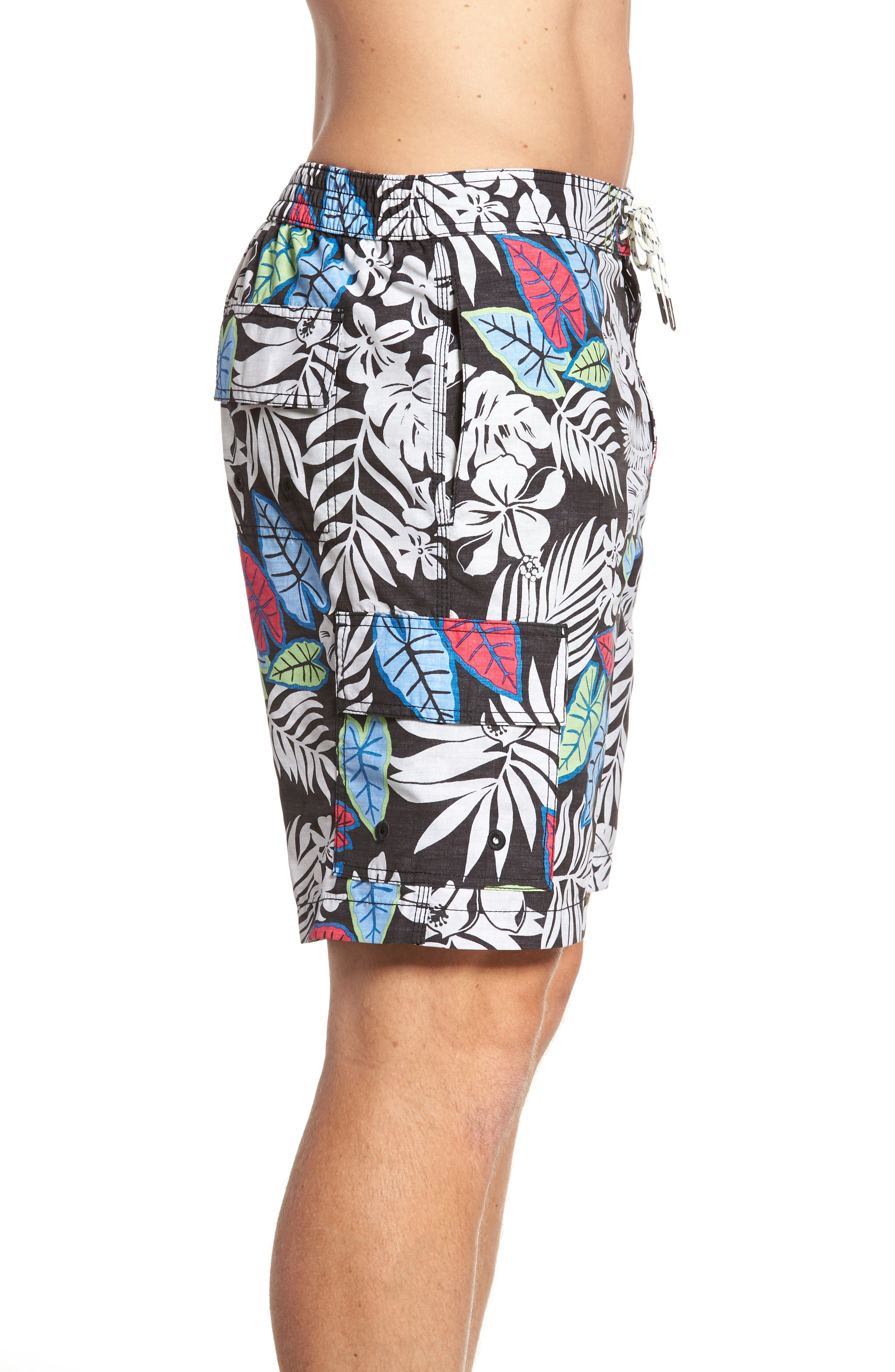Baja Luau Leaves Board Shorts,                             Alternate thumbnail 3, color,                             001