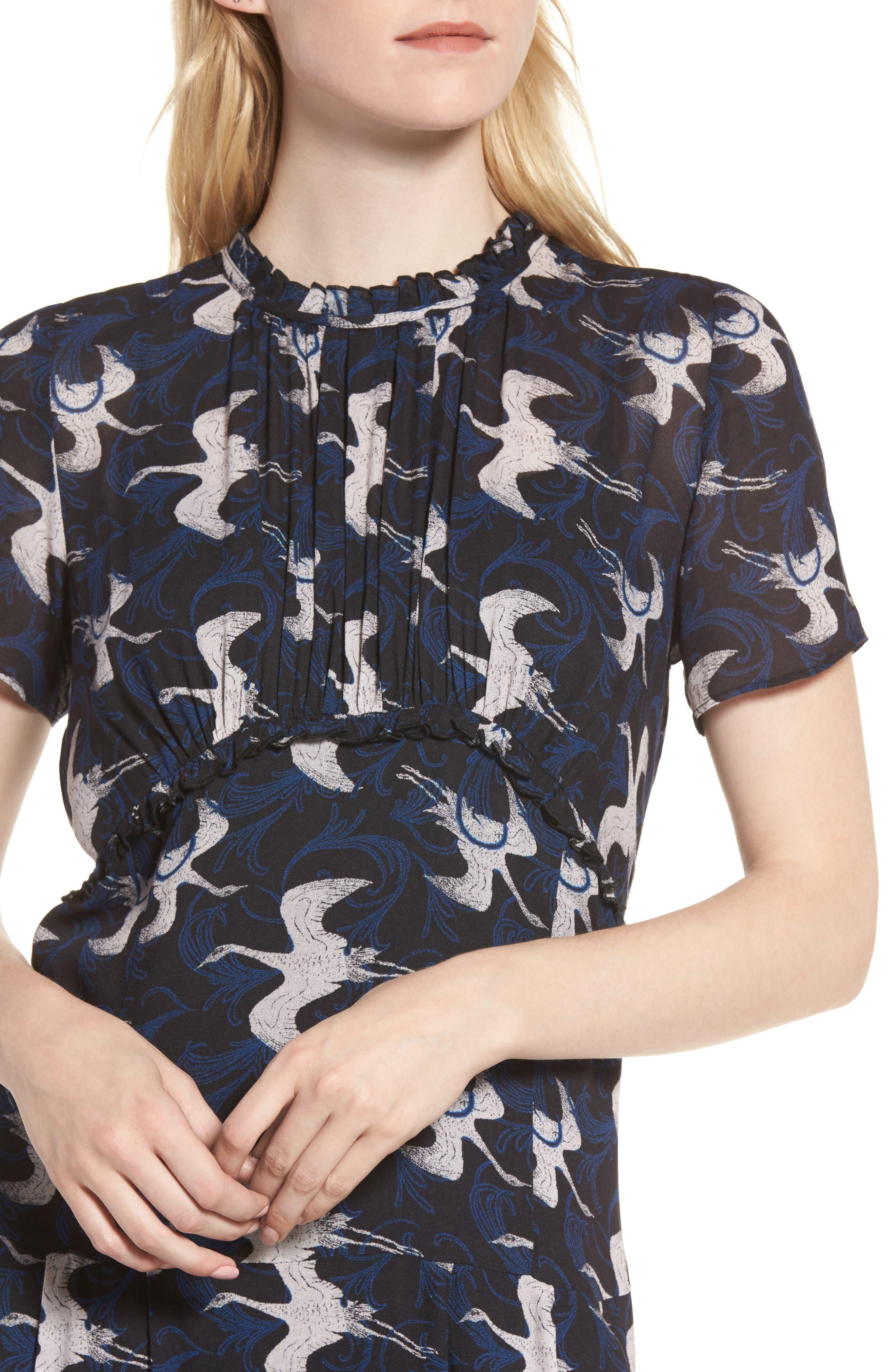 Shirred Midi Dress,                             Alternate thumbnail 4, color,                             020