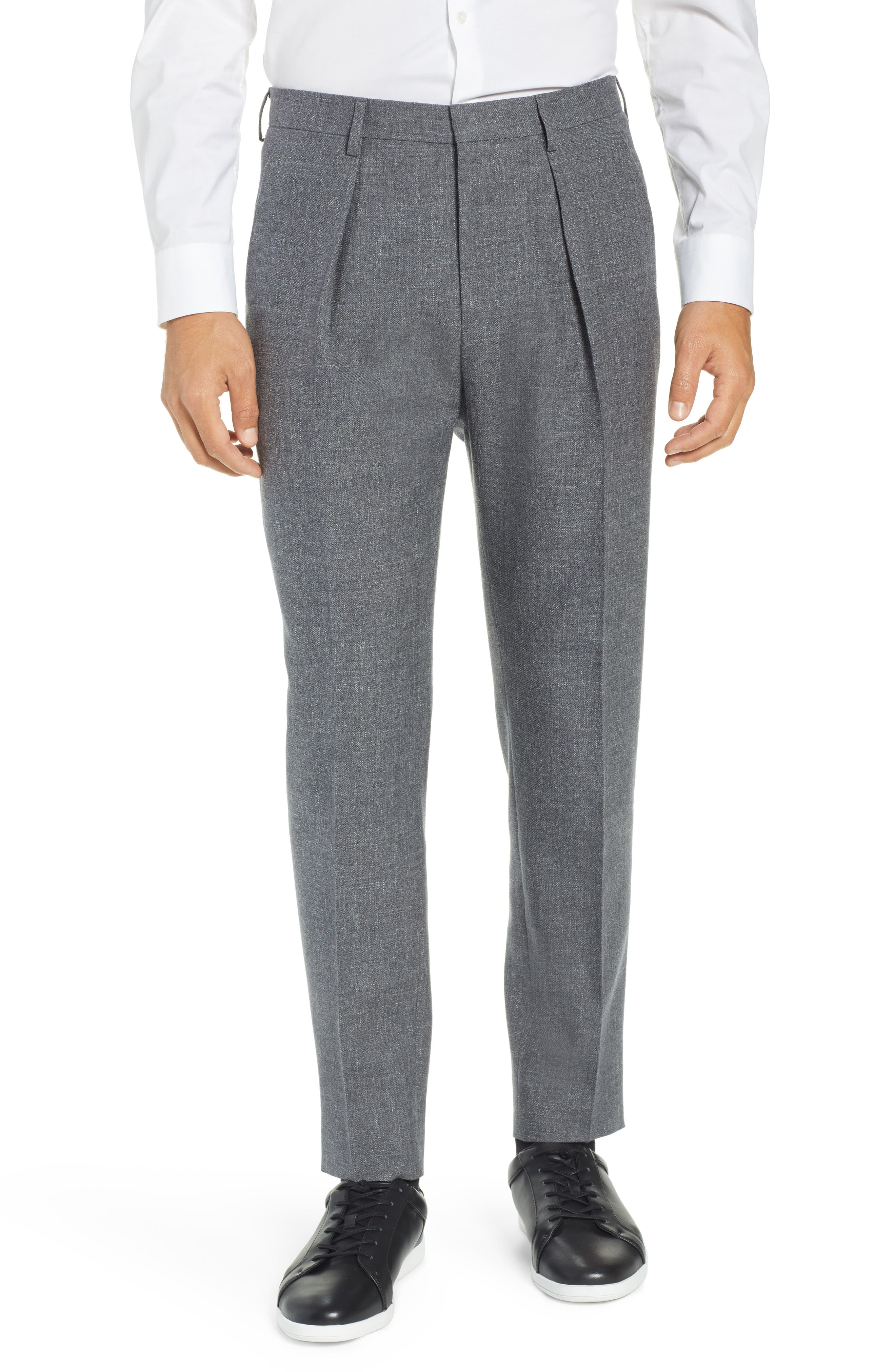 Ole Pleated Solid Wool & Cotton Trousers, Main, color, MEDIUM GREY