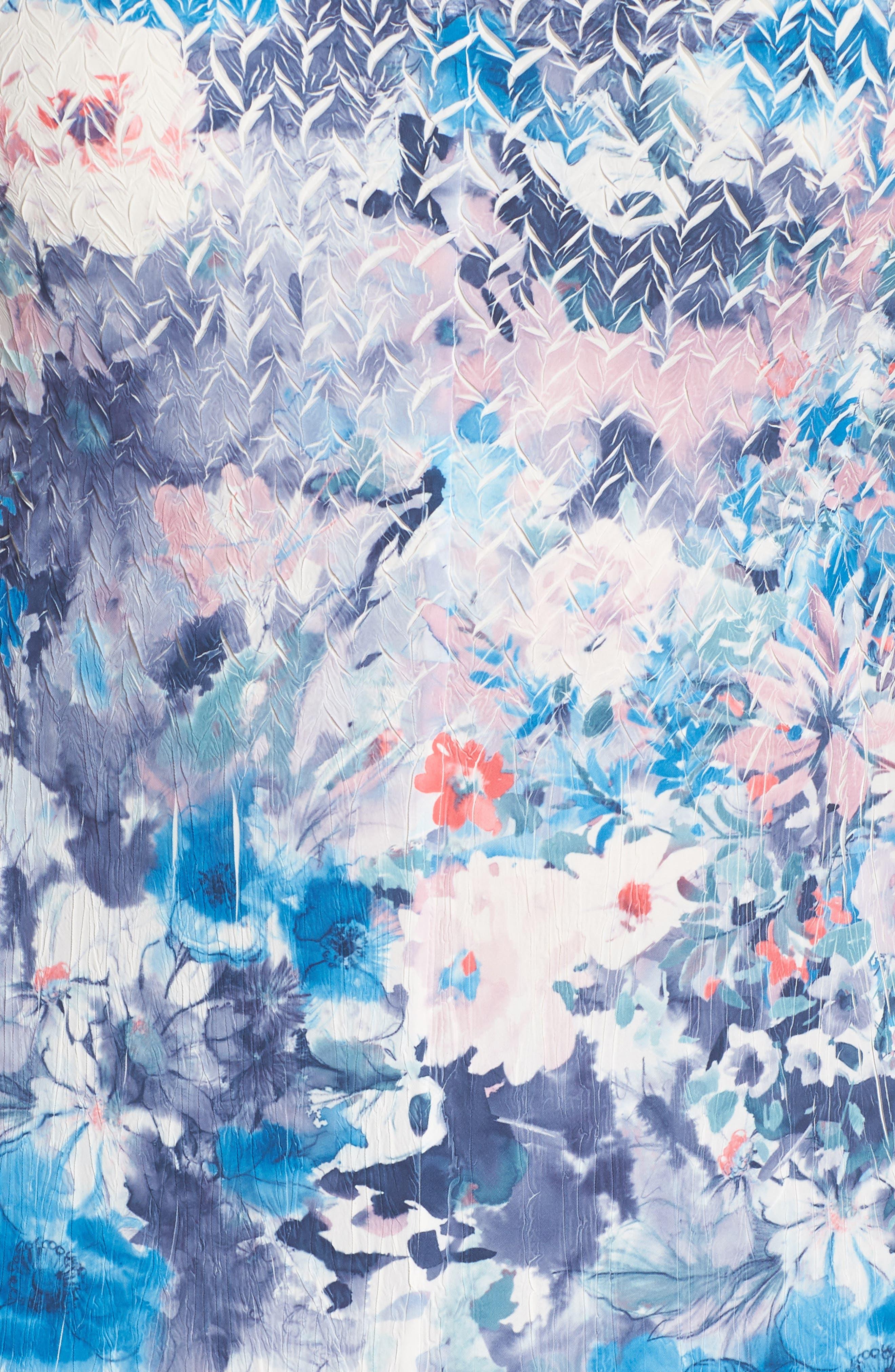 Inset Floral Charmeuse & Chiffon A-Line Dress,                             Alternate thumbnail 6, color,                             405