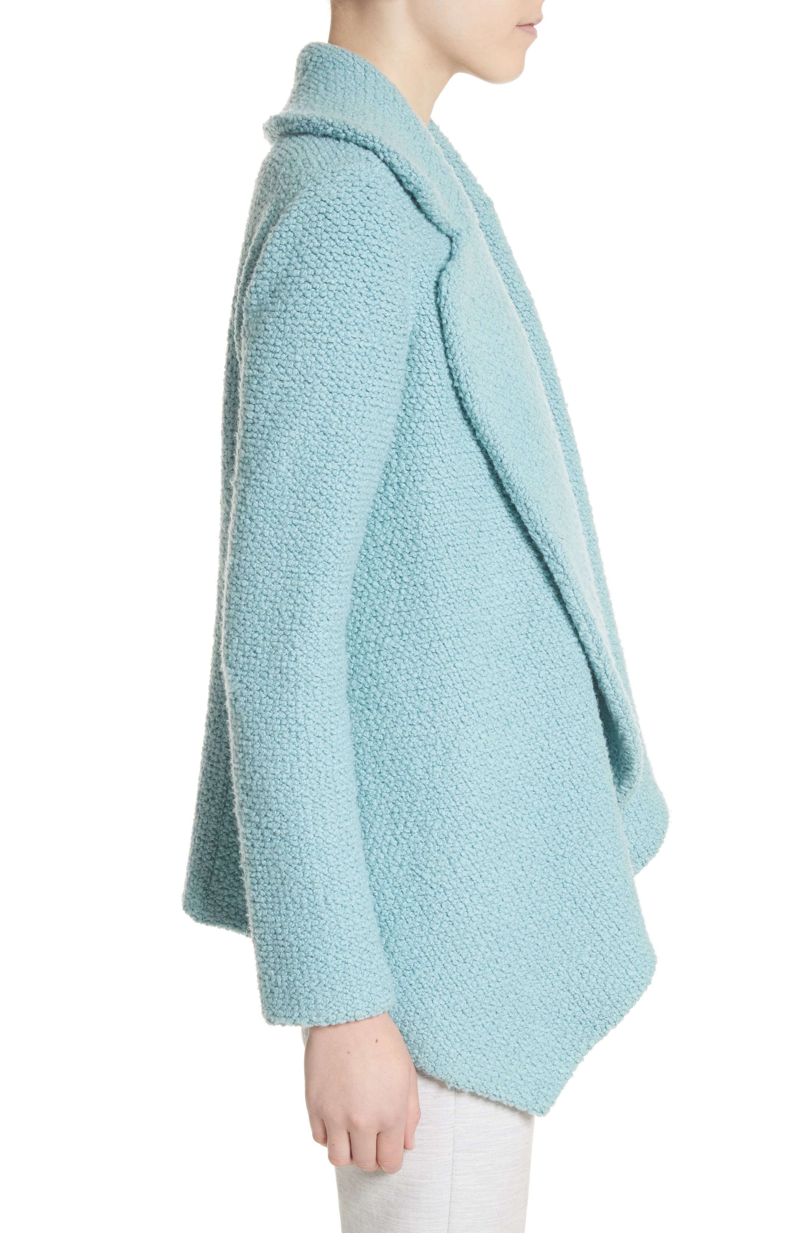 Plush Bouclé Wool & Silk Cardigan,                             Alternate thumbnail 3, color,