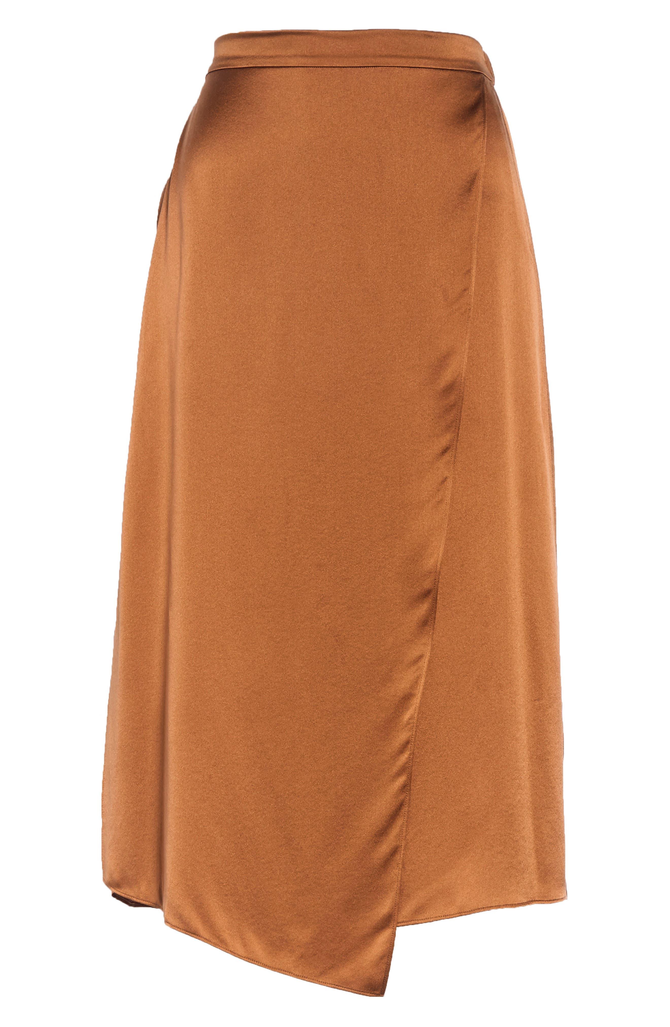 Drape Panel Silk Skirt,                             Alternate thumbnail 6, color,                             LIGHT COPPER