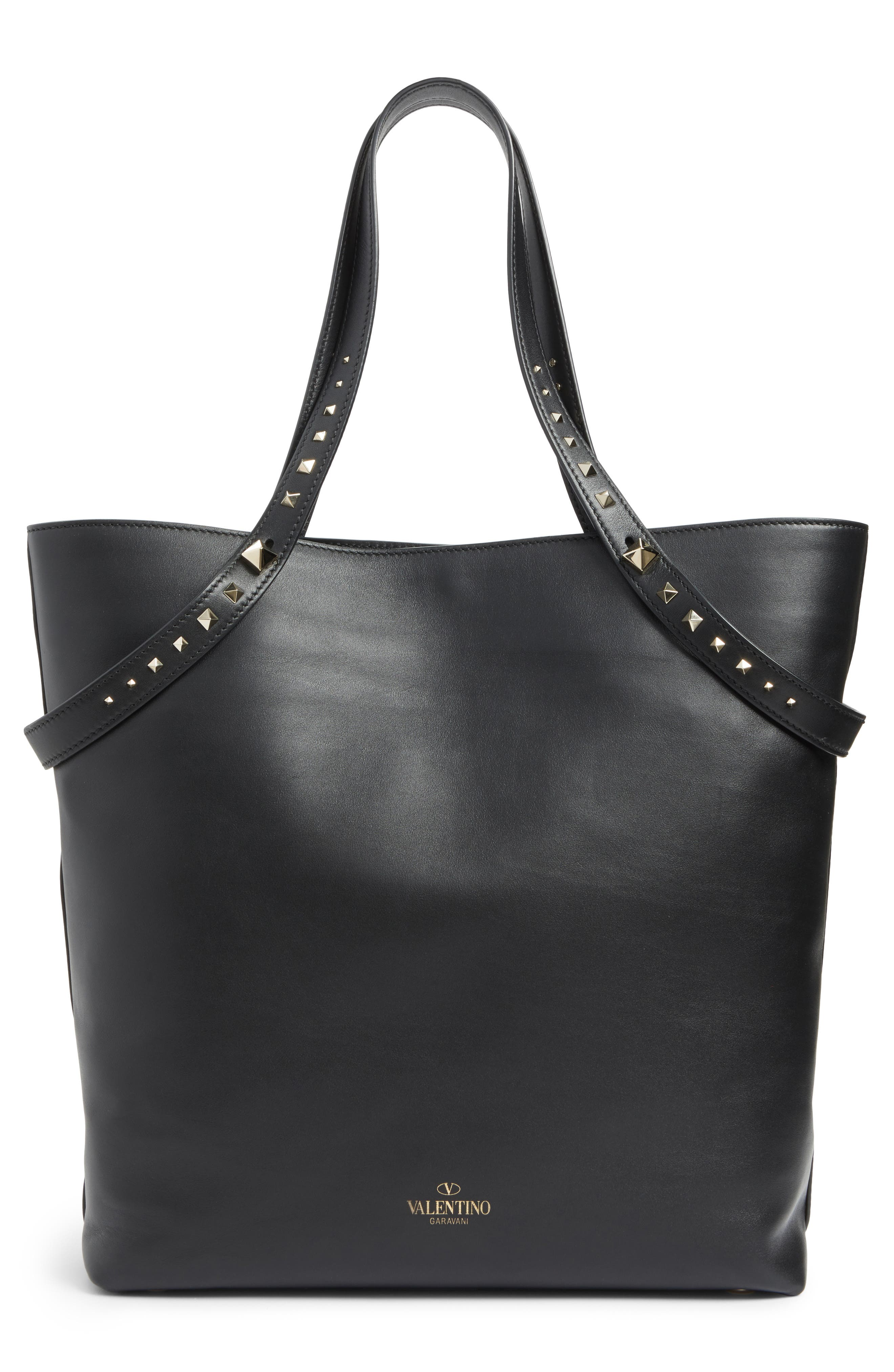 Lovestud Leather Tote,                             Alternate thumbnail 7, color,