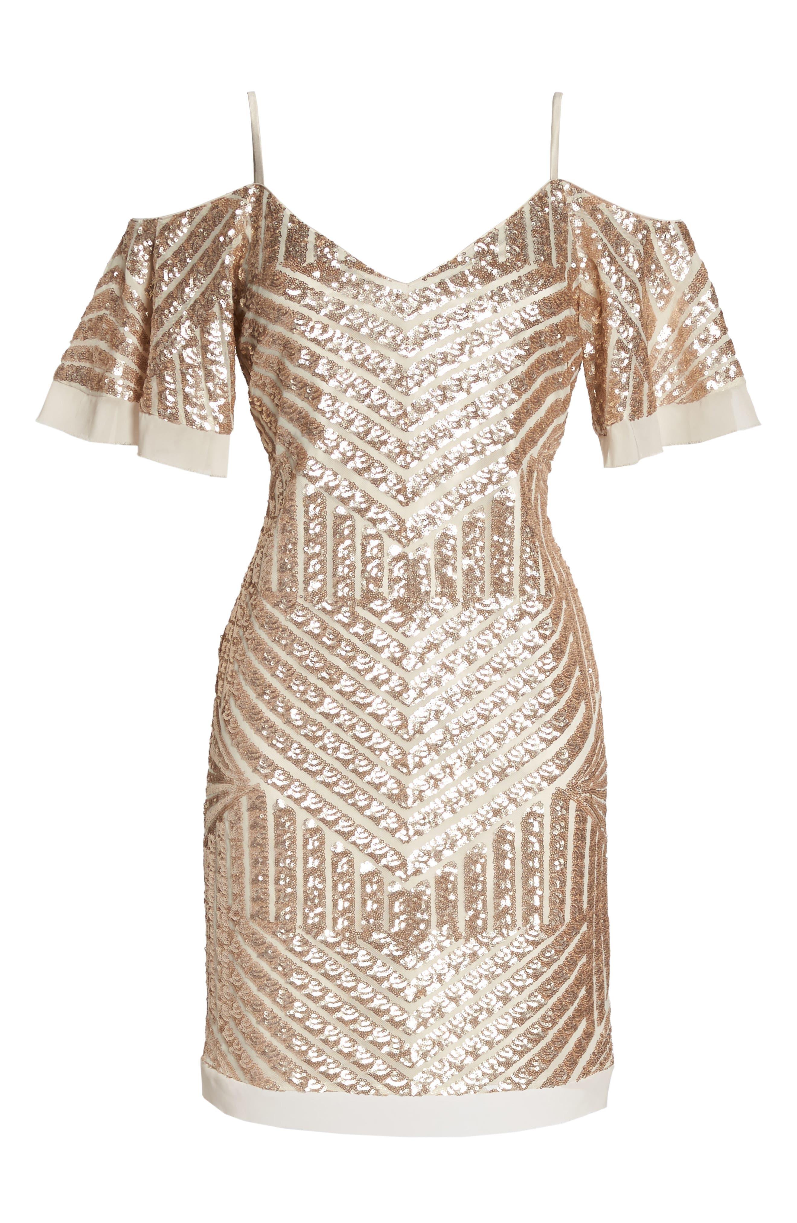 Sequin Cold Shoulder Dress,                             Alternate thumbnail 6, color,