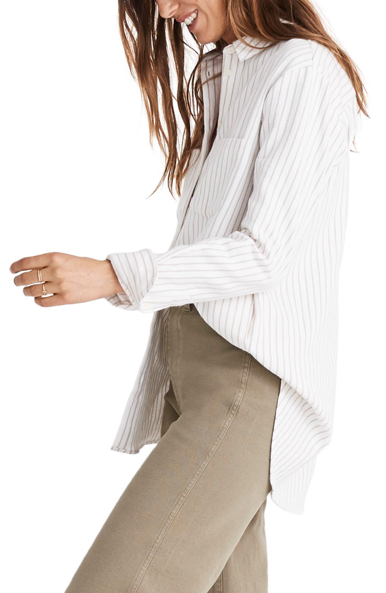 Sunday Stripe Flannel Shirt,                             Alternate thumbnail 3, color,                             900