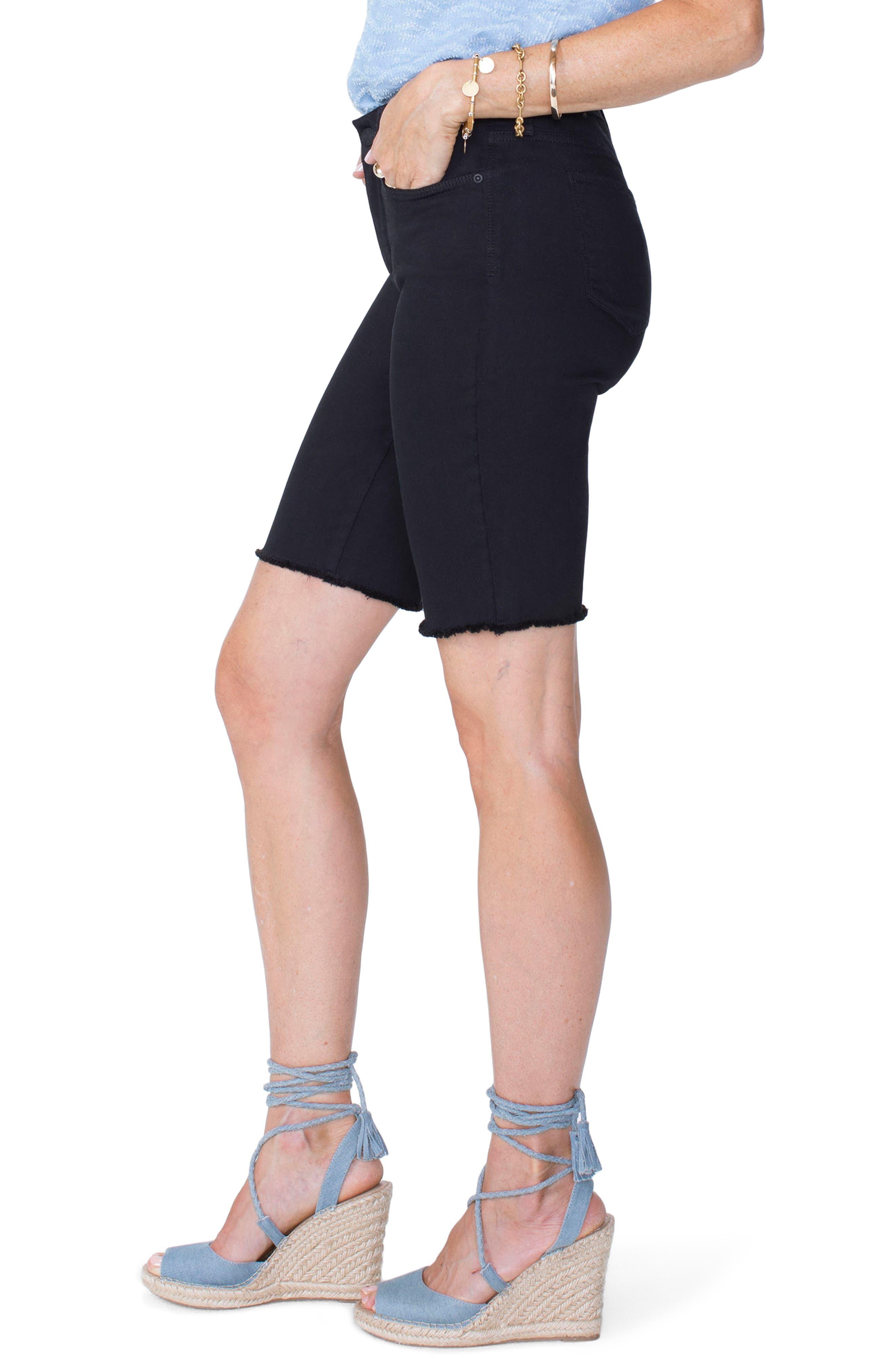 Briella Frayed Hem Bermuda Shorts,                             Alternate thumbnail 3, color,                             001