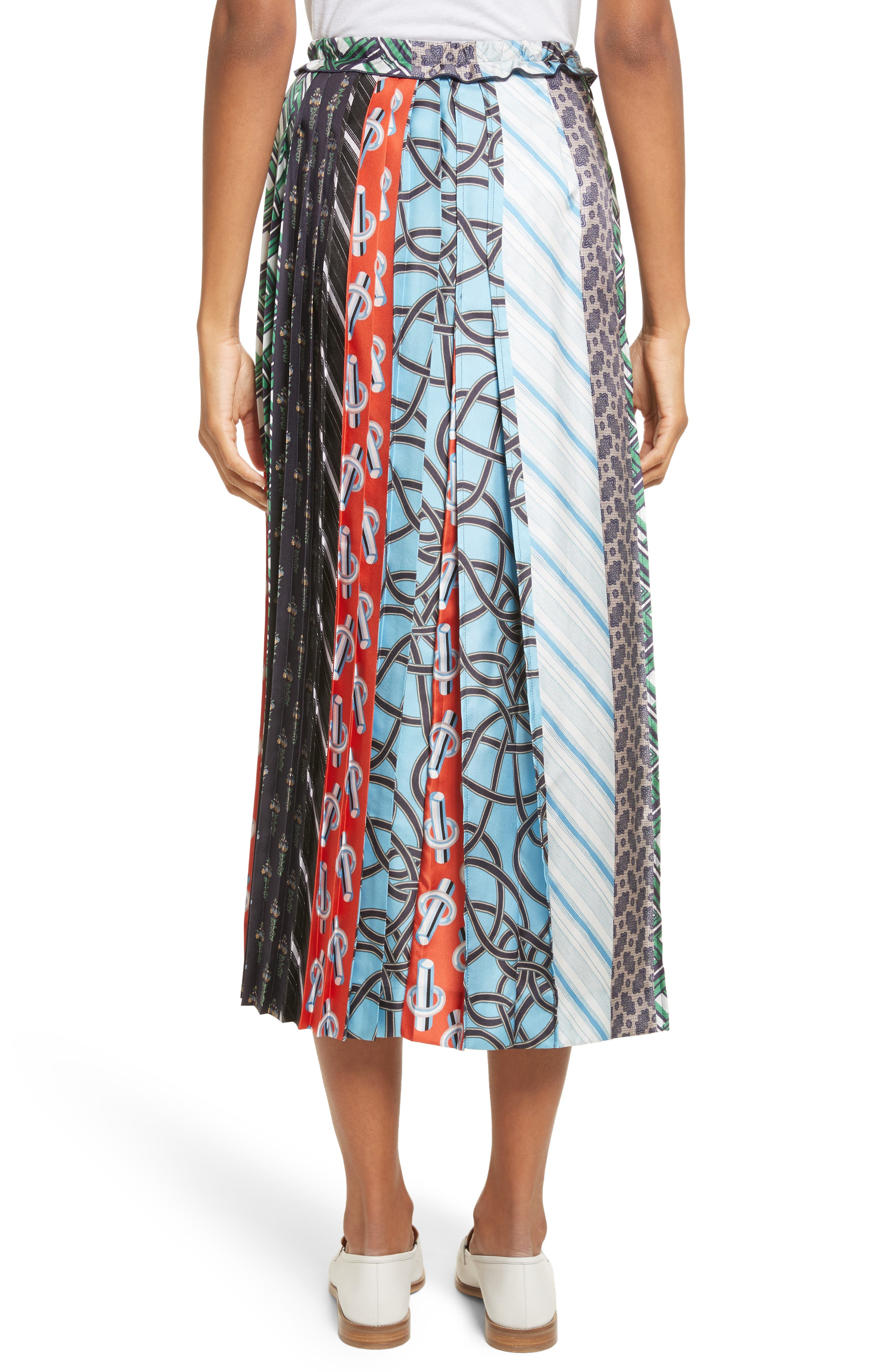 Pleated Mix Print Silk Skirt,                             Alternate thumbnail 2, color,                             003