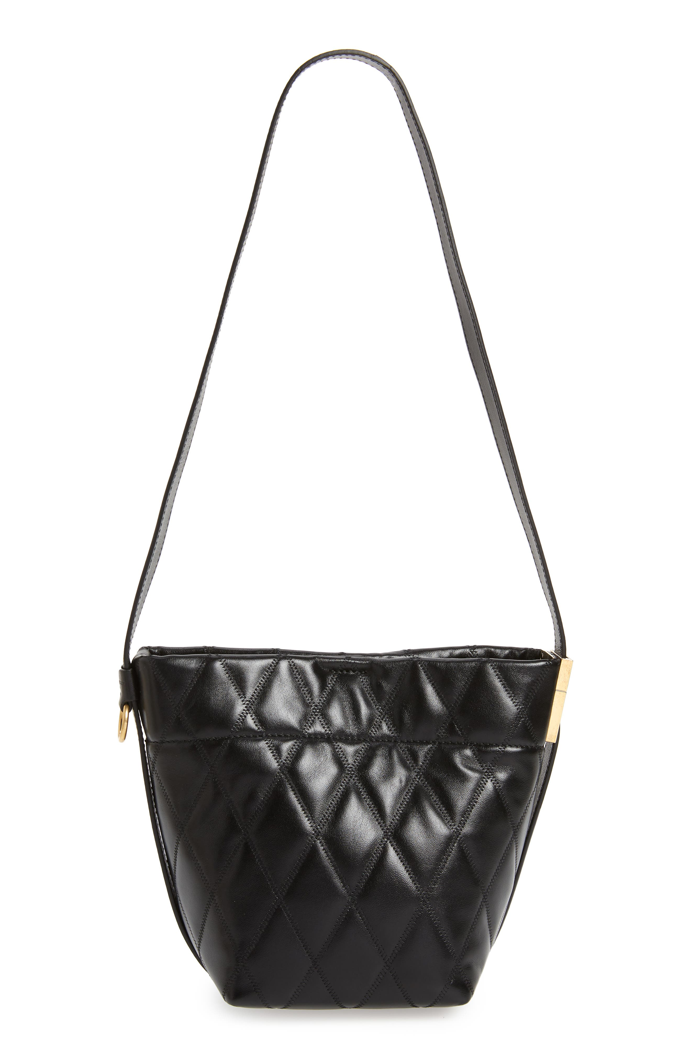 GIVENCHY,                             Mini GV Quilted Lambskin Leather Bucket Bag,                             Alternate thumbnail 4, color,                             BLACK