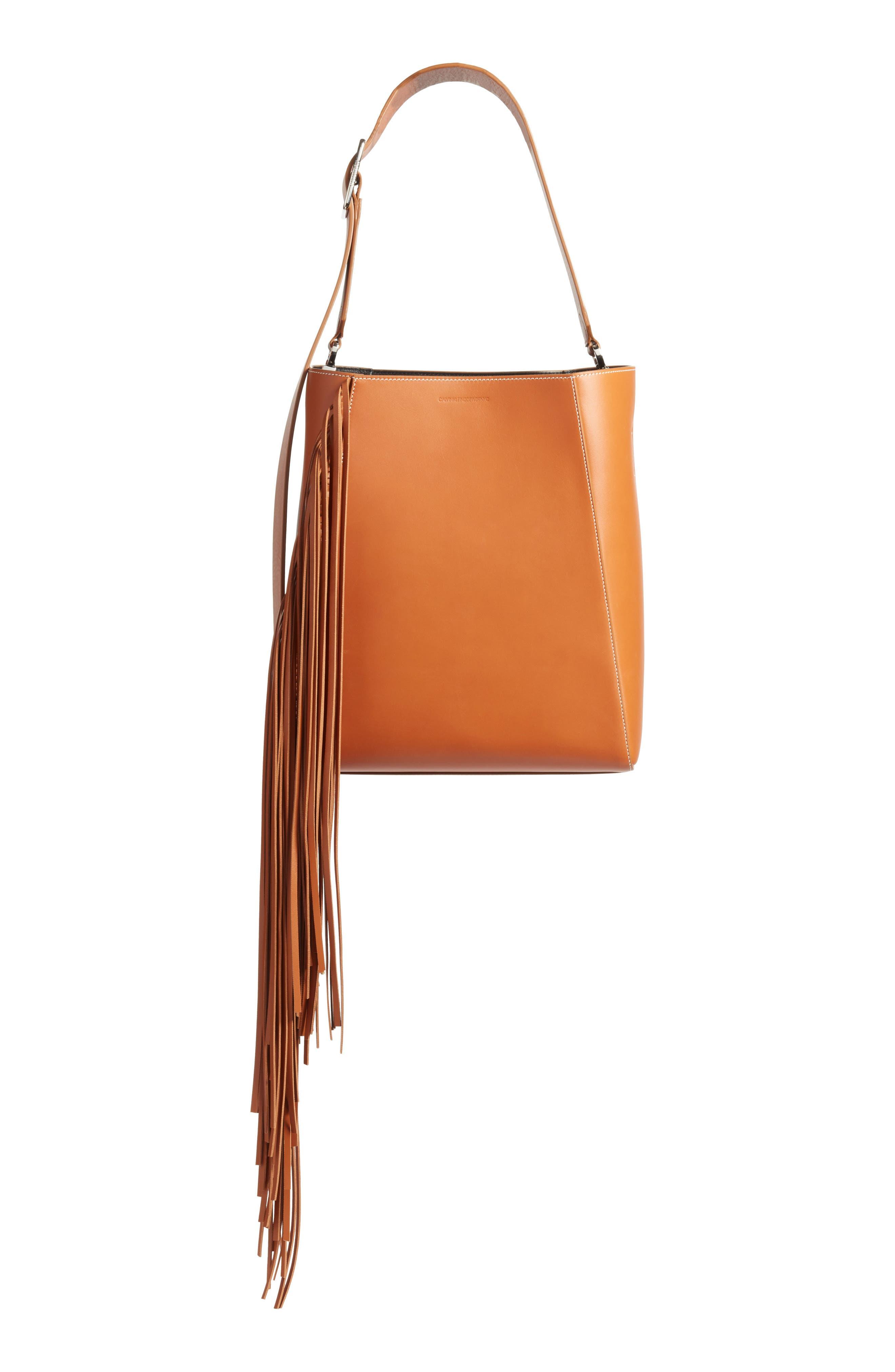 Fringe Leather Bucket Bag,                         Main,                         color, COGNAC