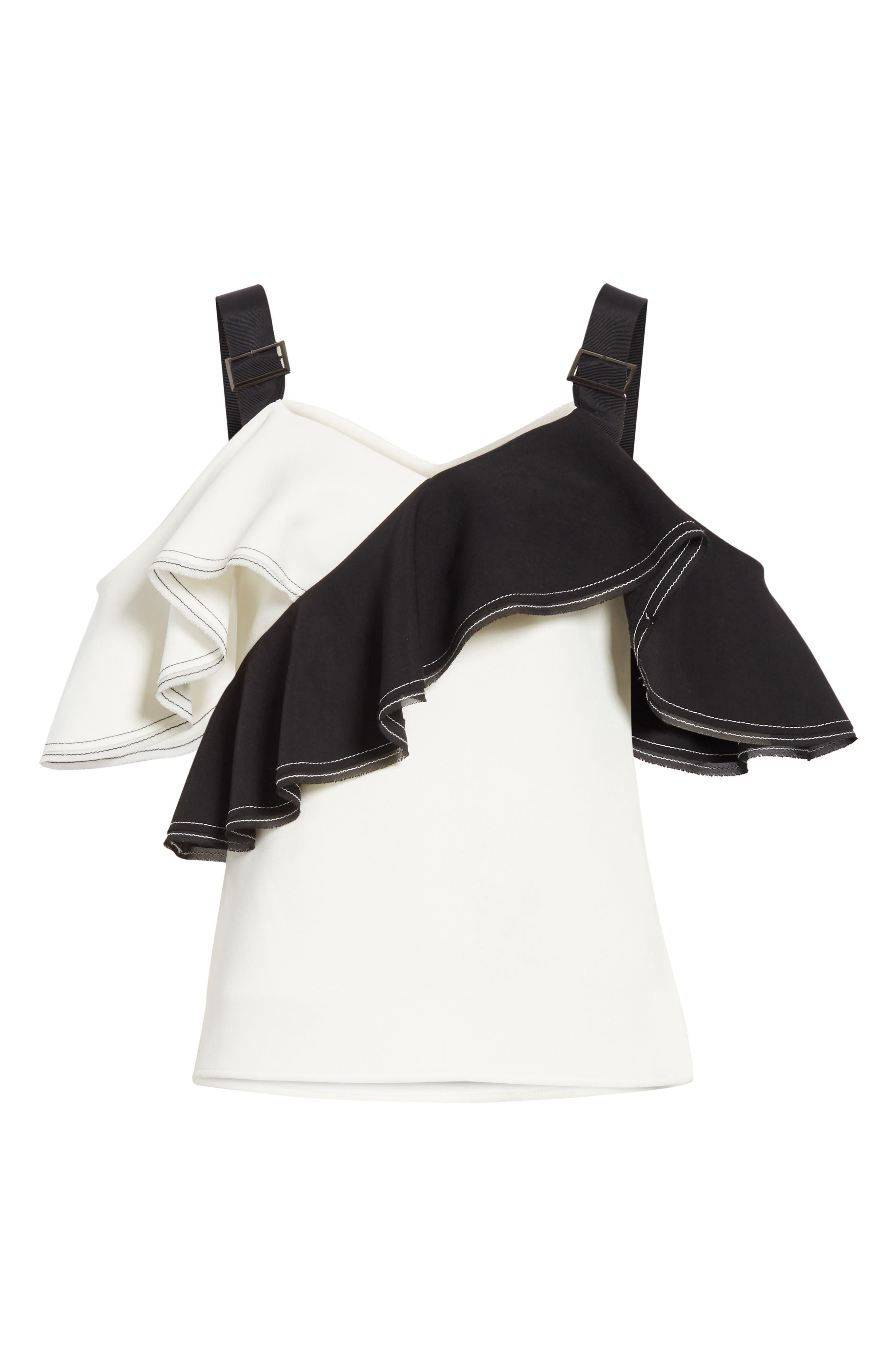 Harness Strap Cold Shoulder Blouse,                             Alternate thumbnail 6, color,                             BLACK/ WHITE