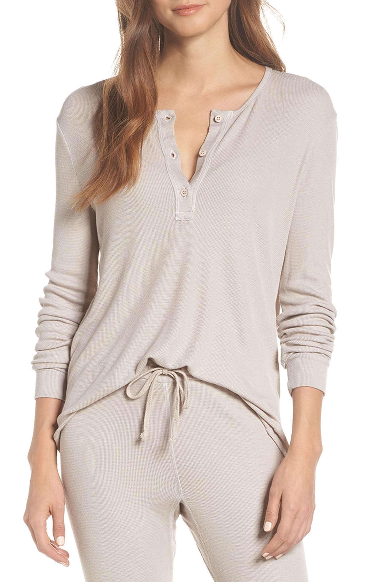 LACAUSA Chalet Thermal Henley in Oatmeal