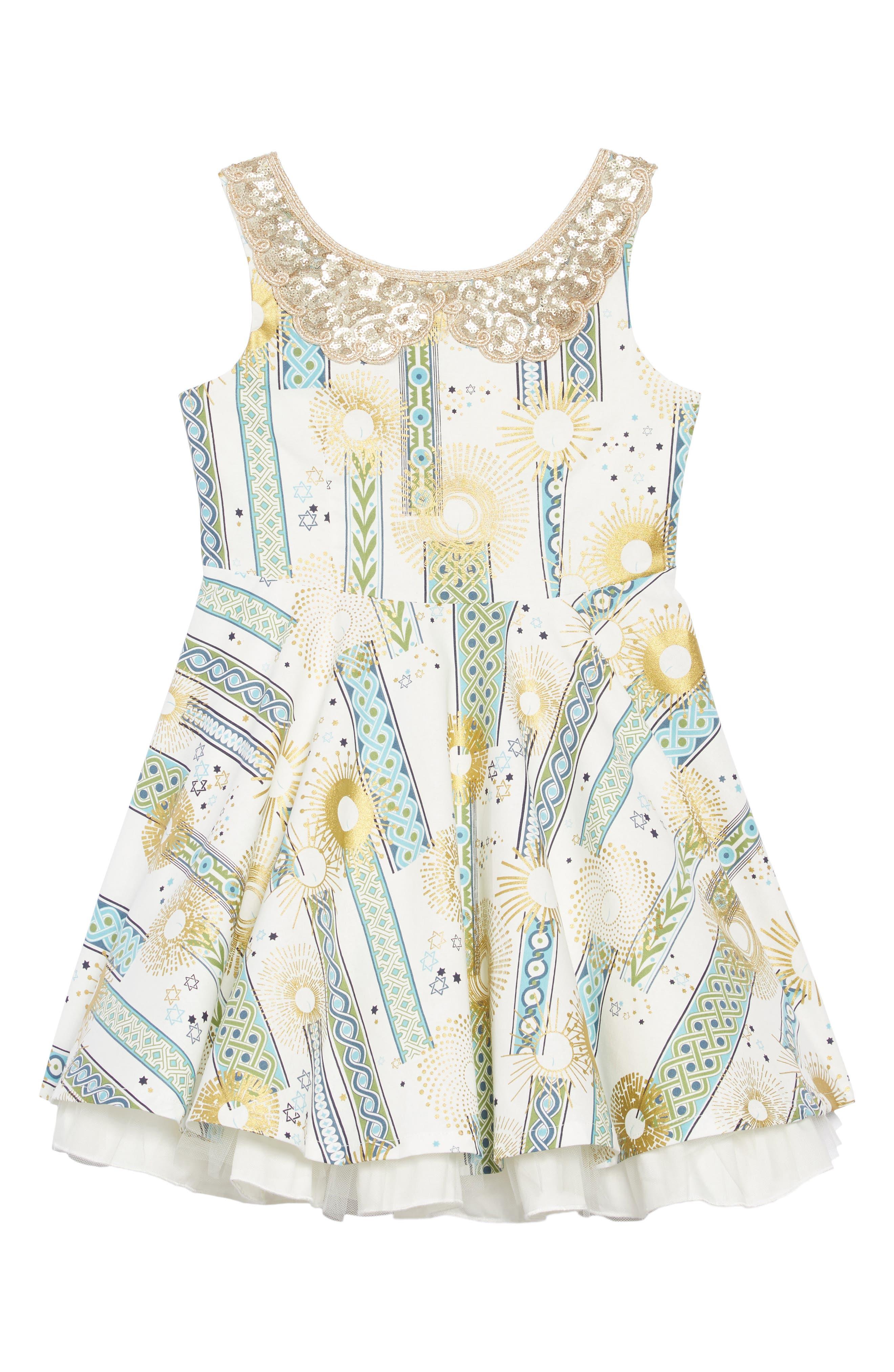 Girls Fiveloaves Twofish Hanukkah Sequin Party Dress