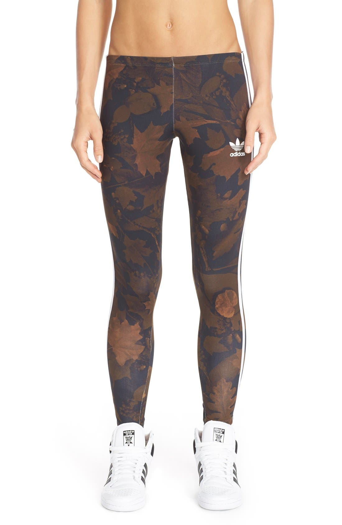 Leaf Camouflage Print Leggings,                             Main thumbnail 1, color,                             001
