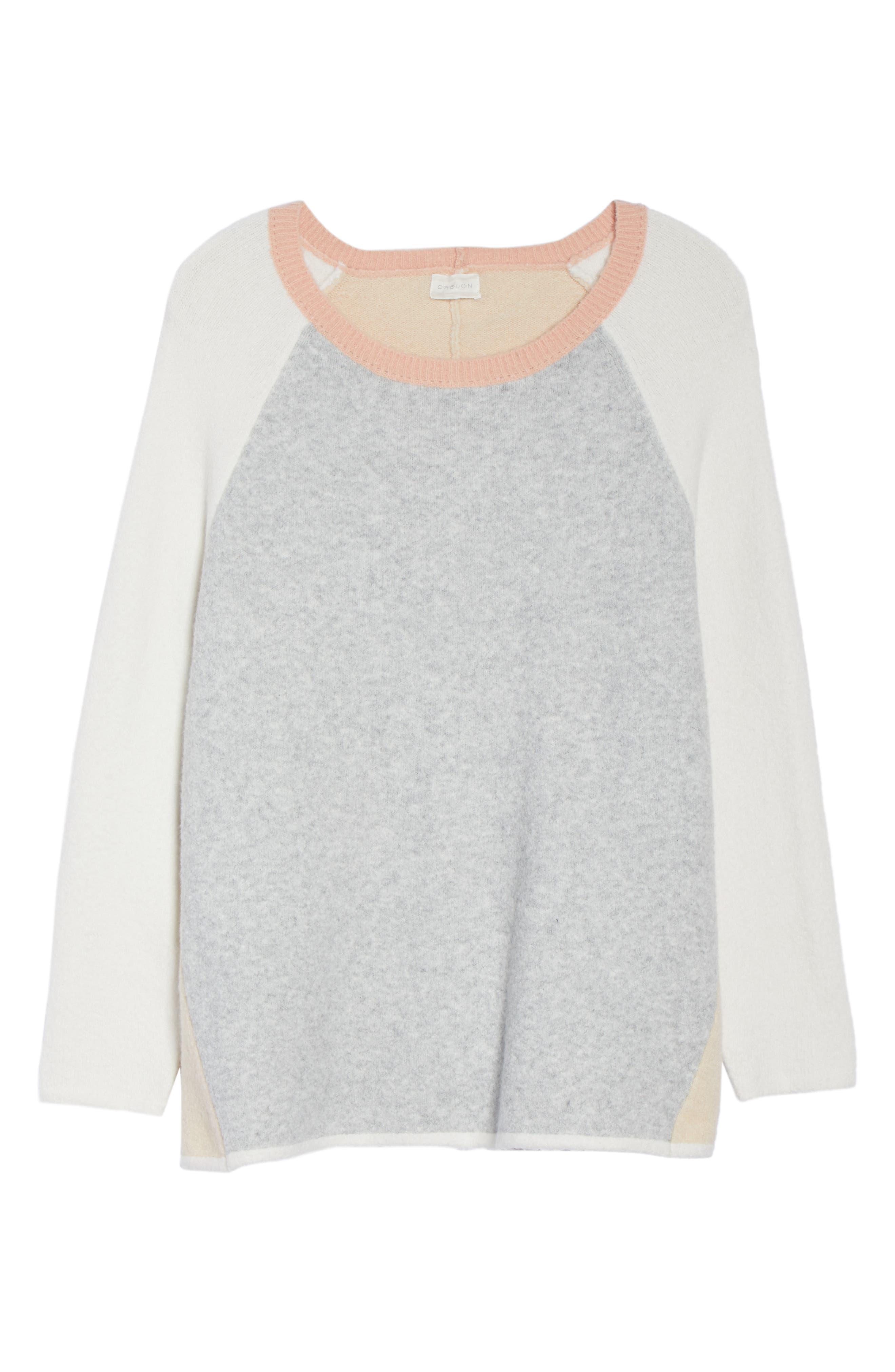 Colorblock Sweater,                             Alternate thumbnail 6, color,                             GREY LT HEATHER CB
