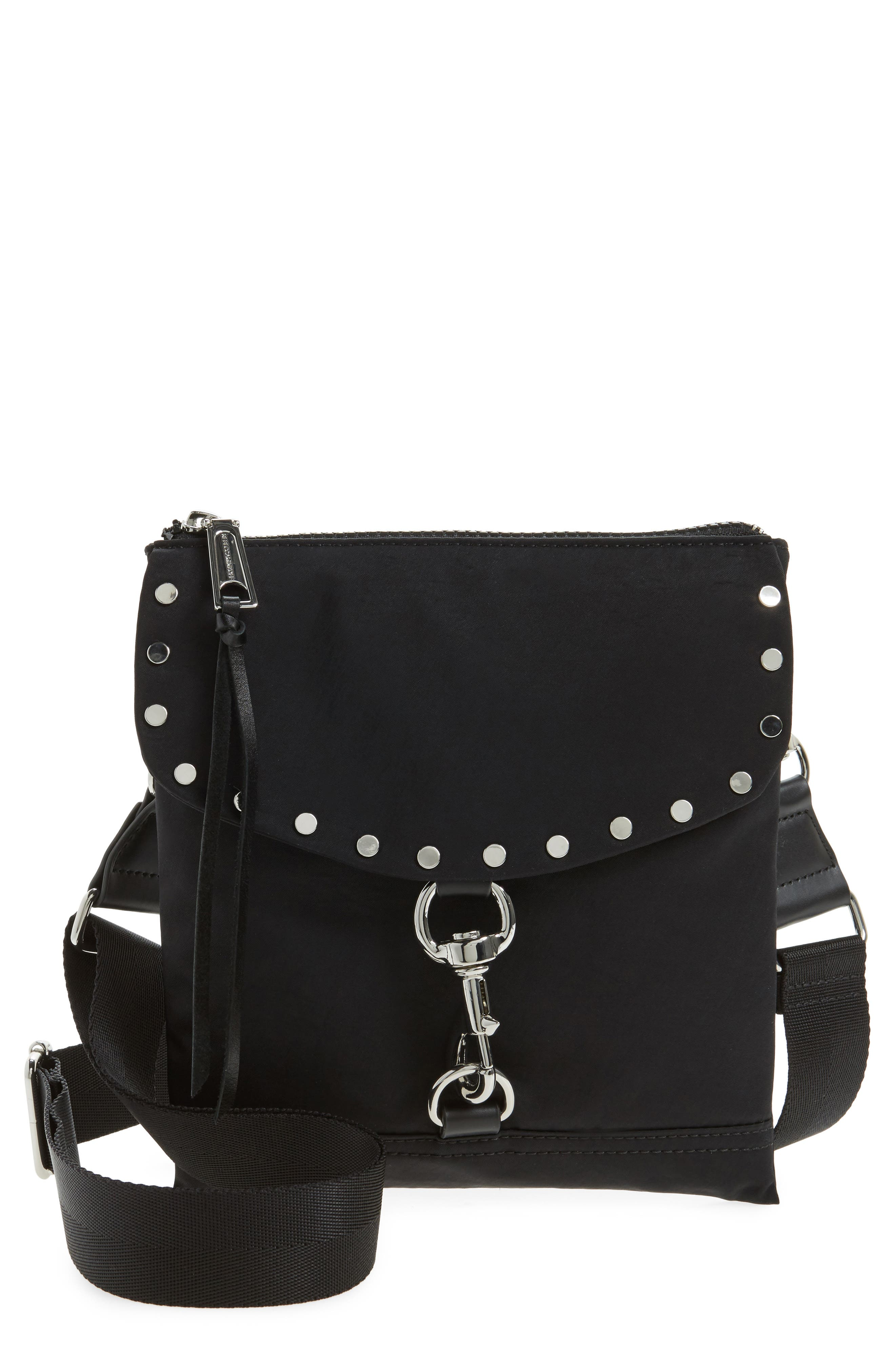 Nylon Flap Crossbody Bag,                             Main thumbnail 1, color,                             001