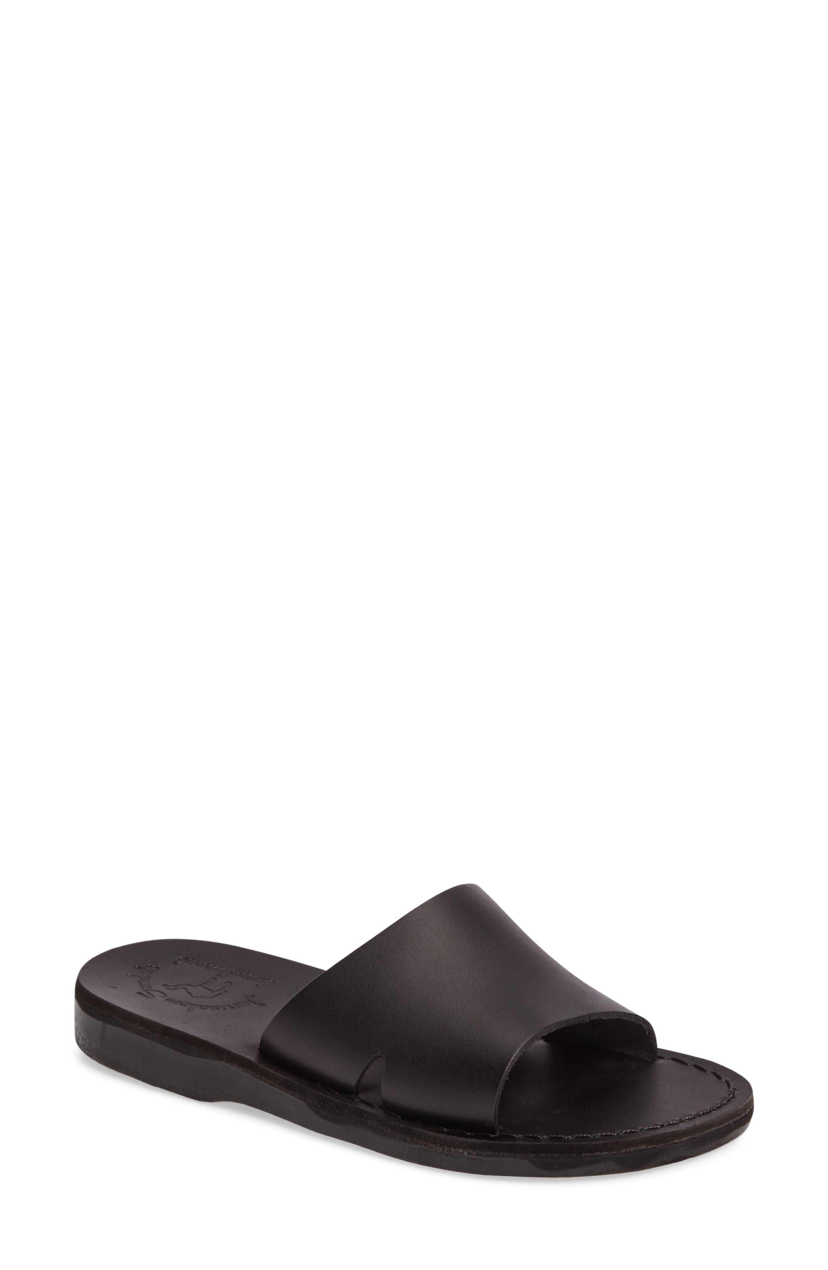 Bashan Open Toe Slide,                         Main,                         color, BLACK LEATHER