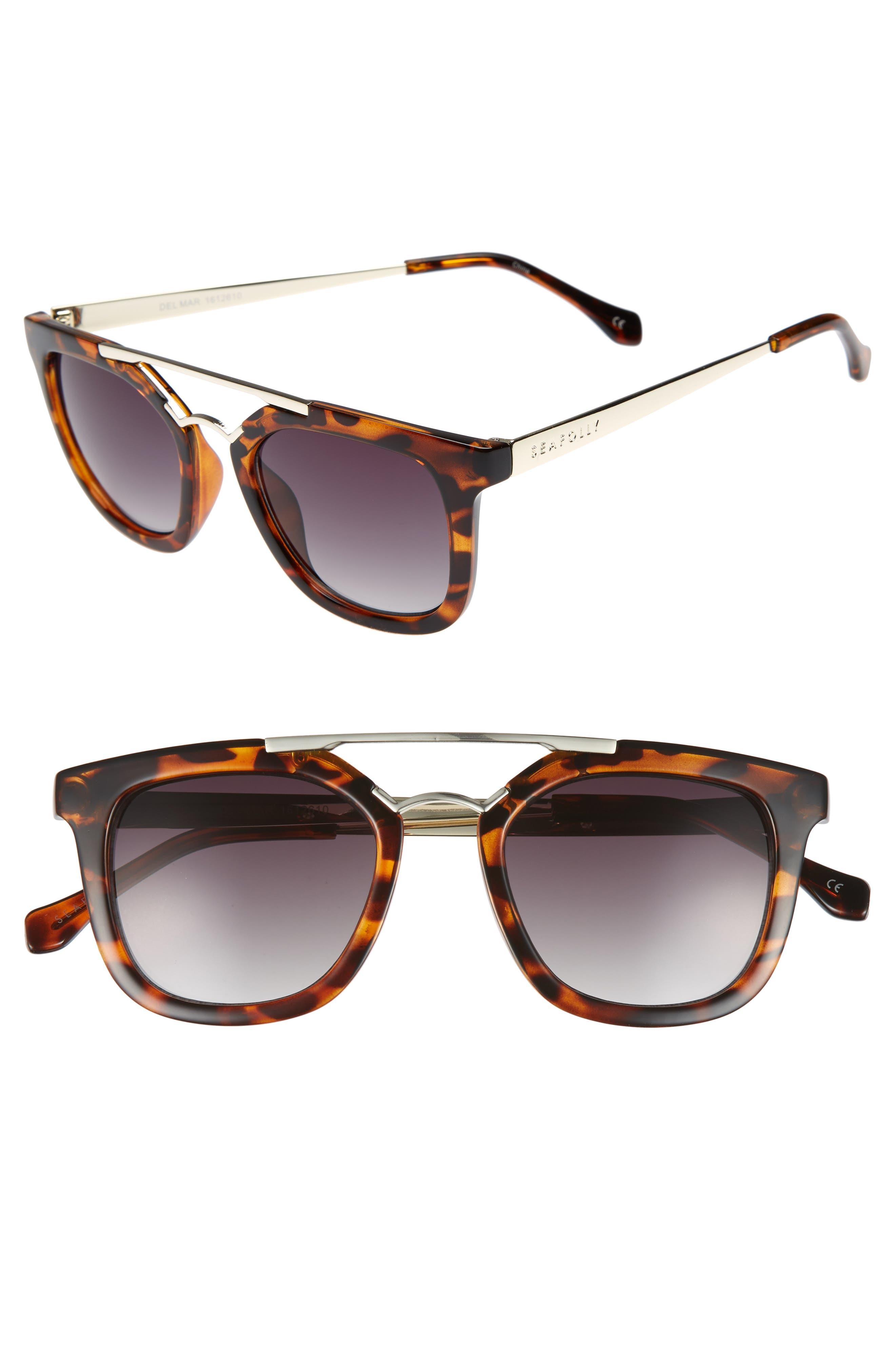 Del Mar 49mm Tortiseshell Aviator Sunglasses,                         Main,                         color, DARK TORT