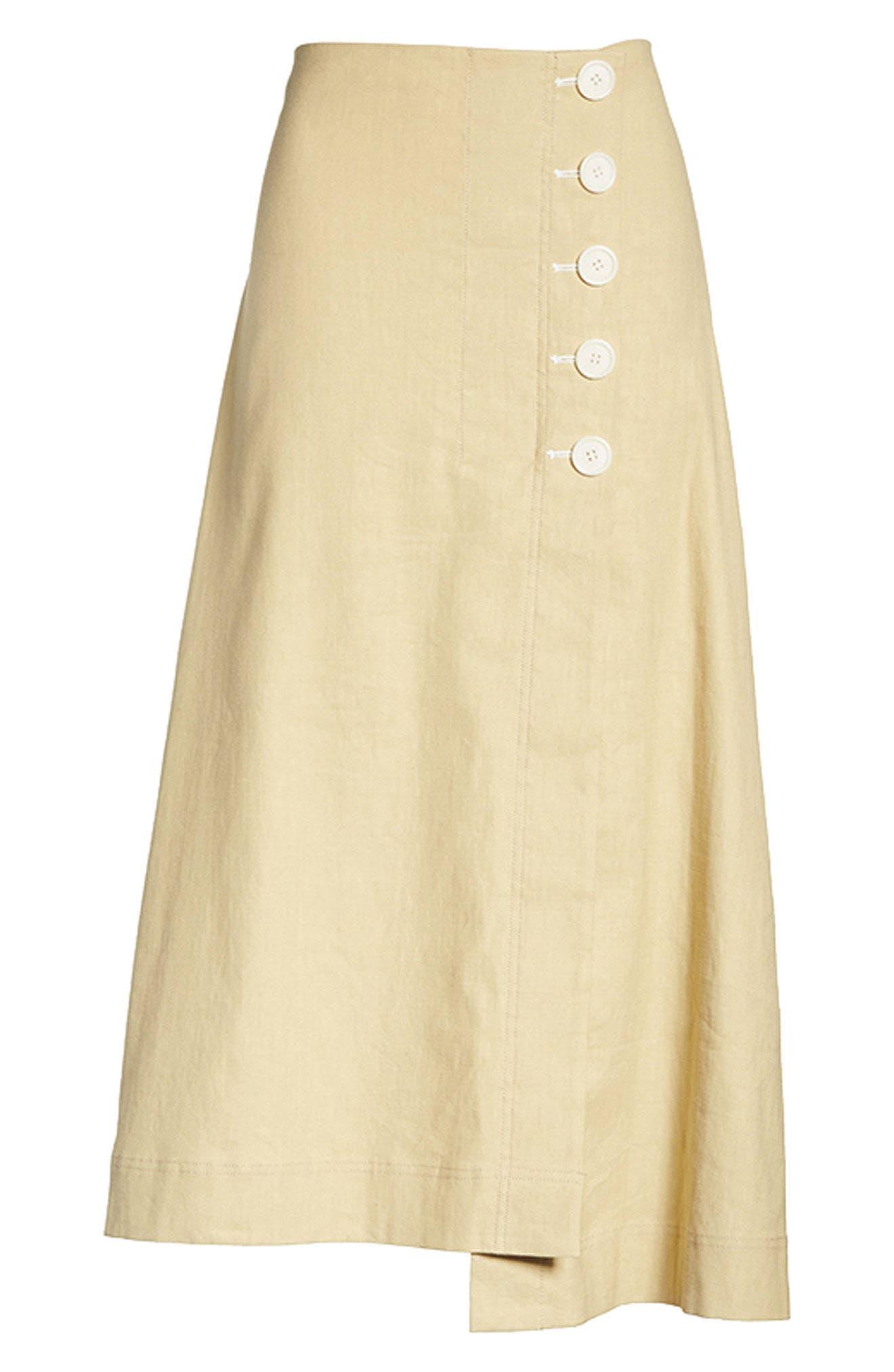 Flare Linen Blend Skirt,                             Alternate thumbnail 8, color,                             251