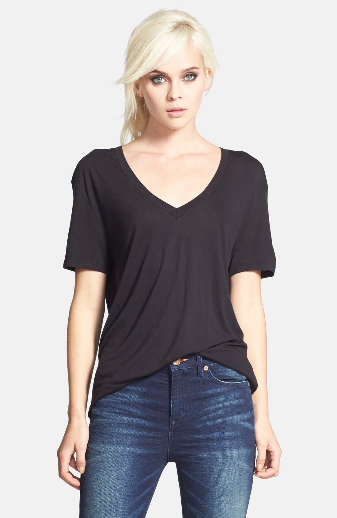 Slouchy V-Neck Tee, Main, color, 001