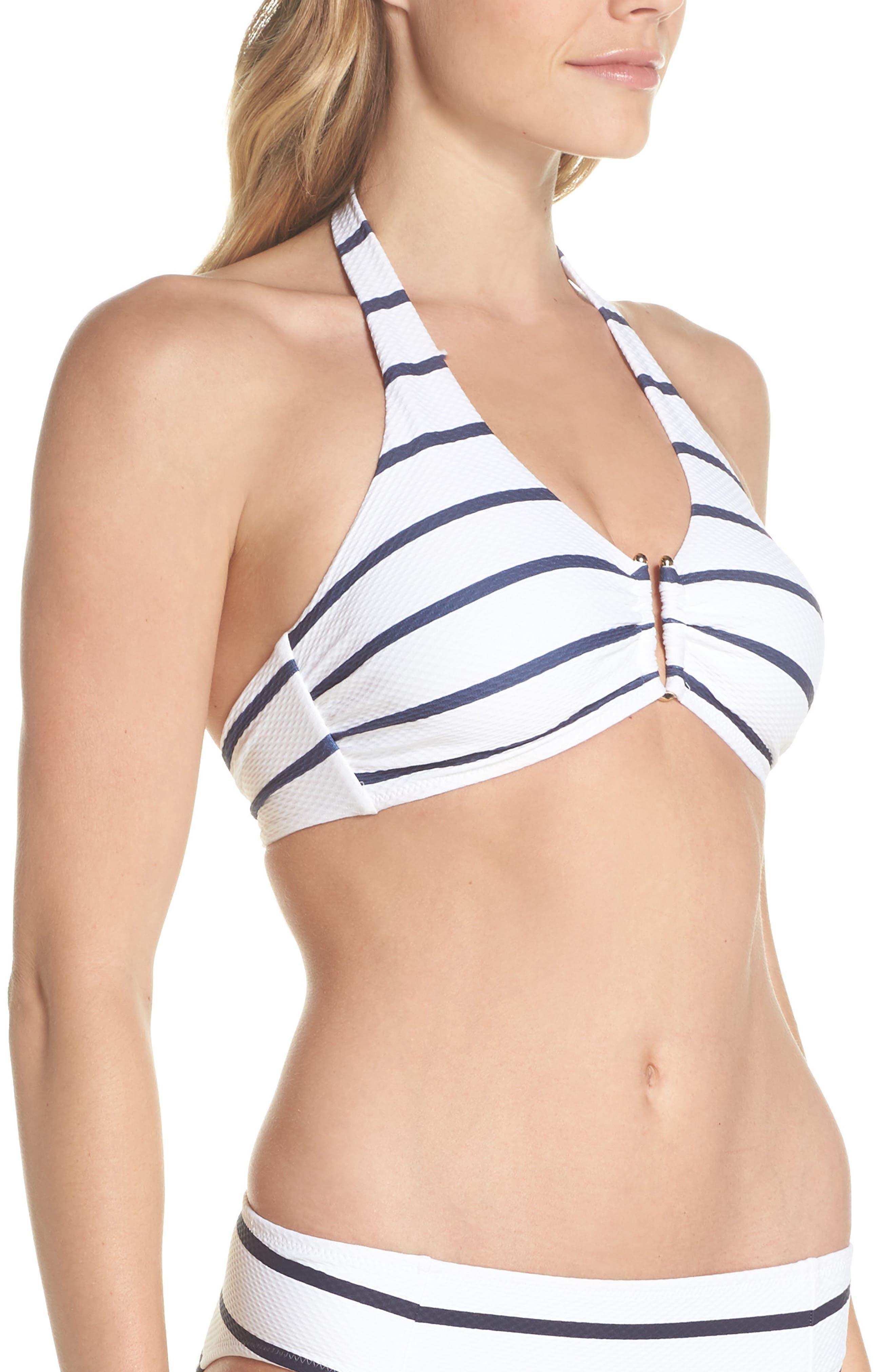 Core D-G U-Bar Halter Bikini Top,                             Alternate thumbnail 3, color,                             NAUTICAL
