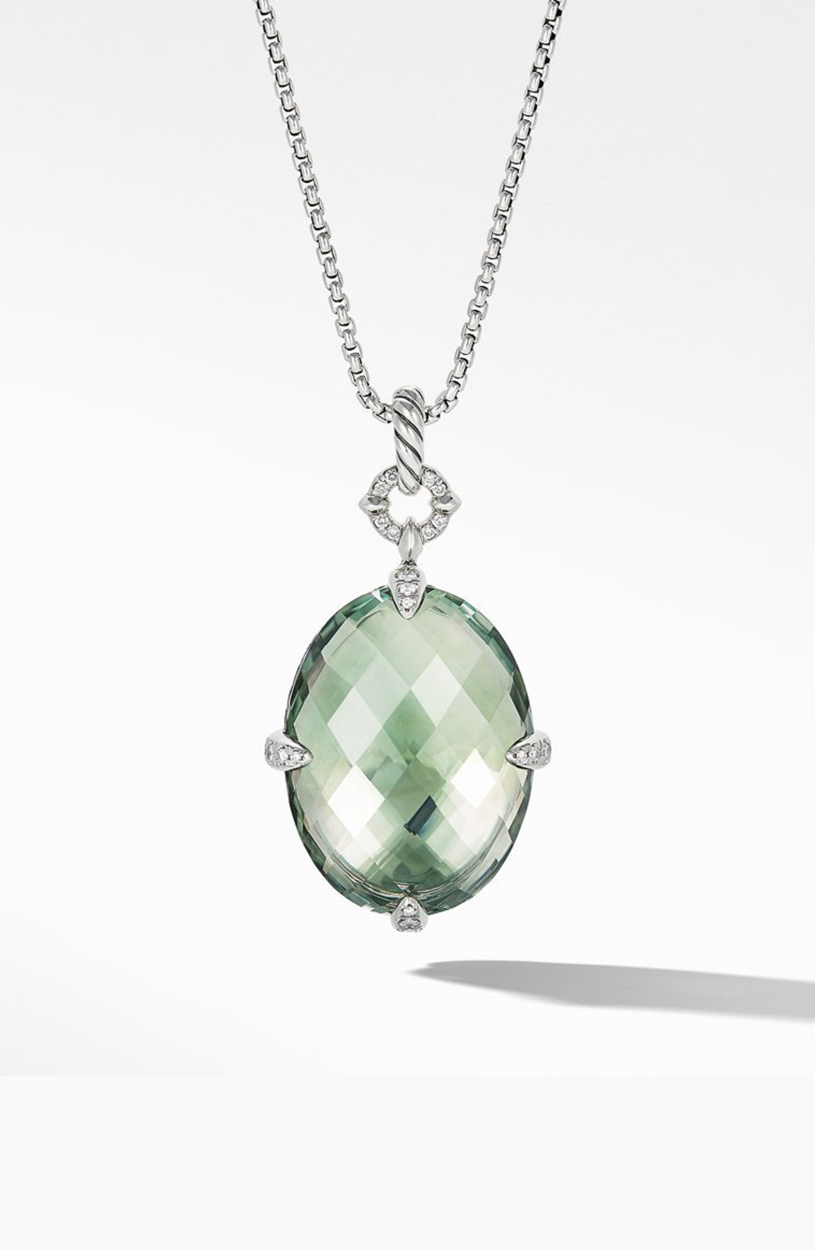 DAVID YURMAN,                             Statement Prasiolite Pendant Necklace with Diamonds,                             Main thumbnail 1, color,                             SILVER/ DIAMOND/ PRASIOLITE