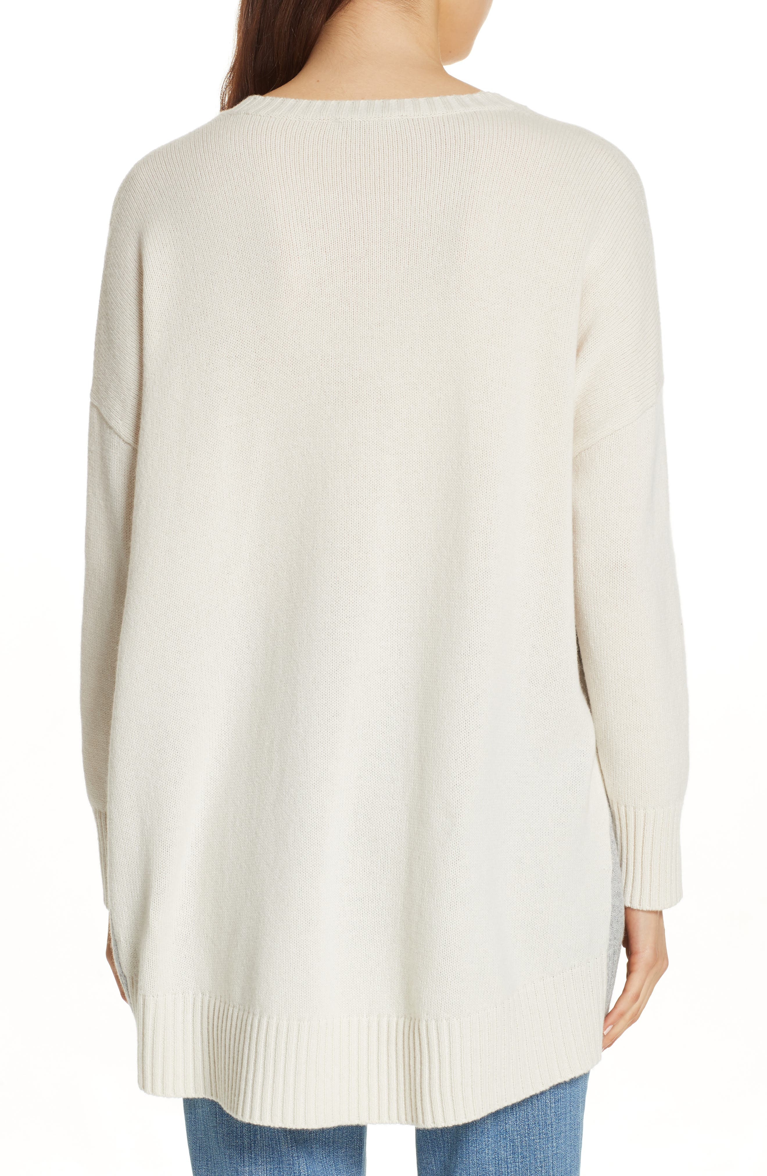 Oversize Cashmere & Wool Sweater,                             Alternate thumbnail 2, color,                             SOFT WHITE/ DARK PEARL
