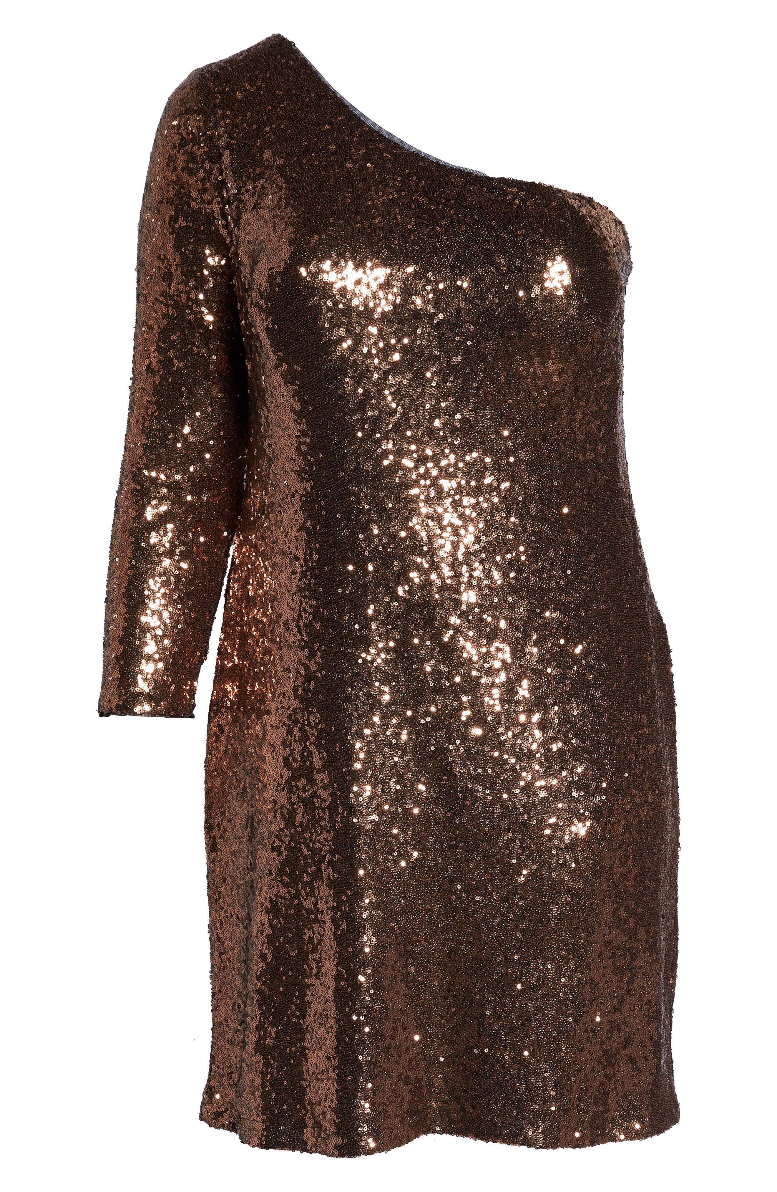 One Shoulder Sequin Party Dress,                             Alternate thumbnail 8, color,                             COPPER