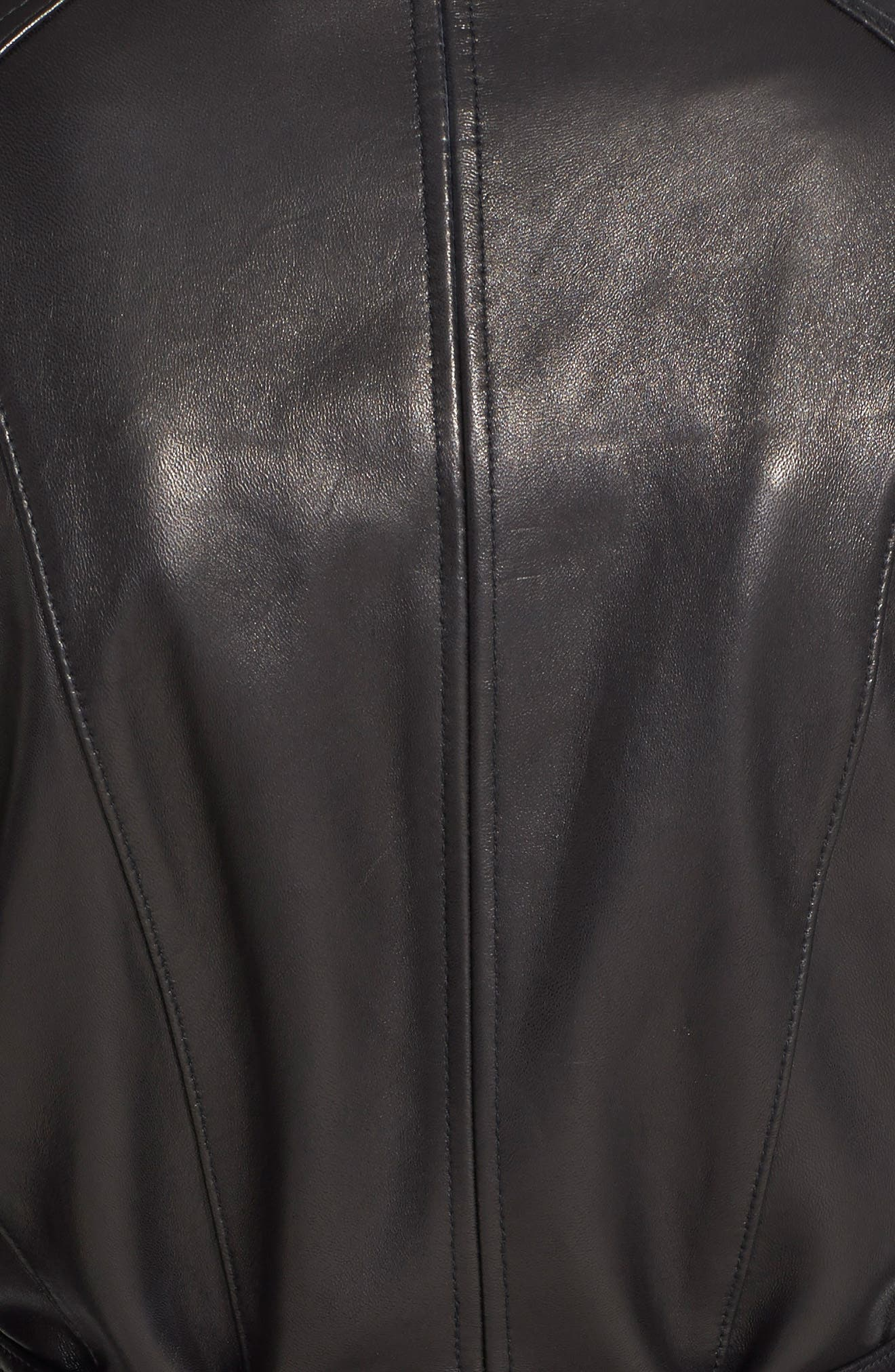Leather Trench Jacket,                             Alternate thumbnail 3, color,