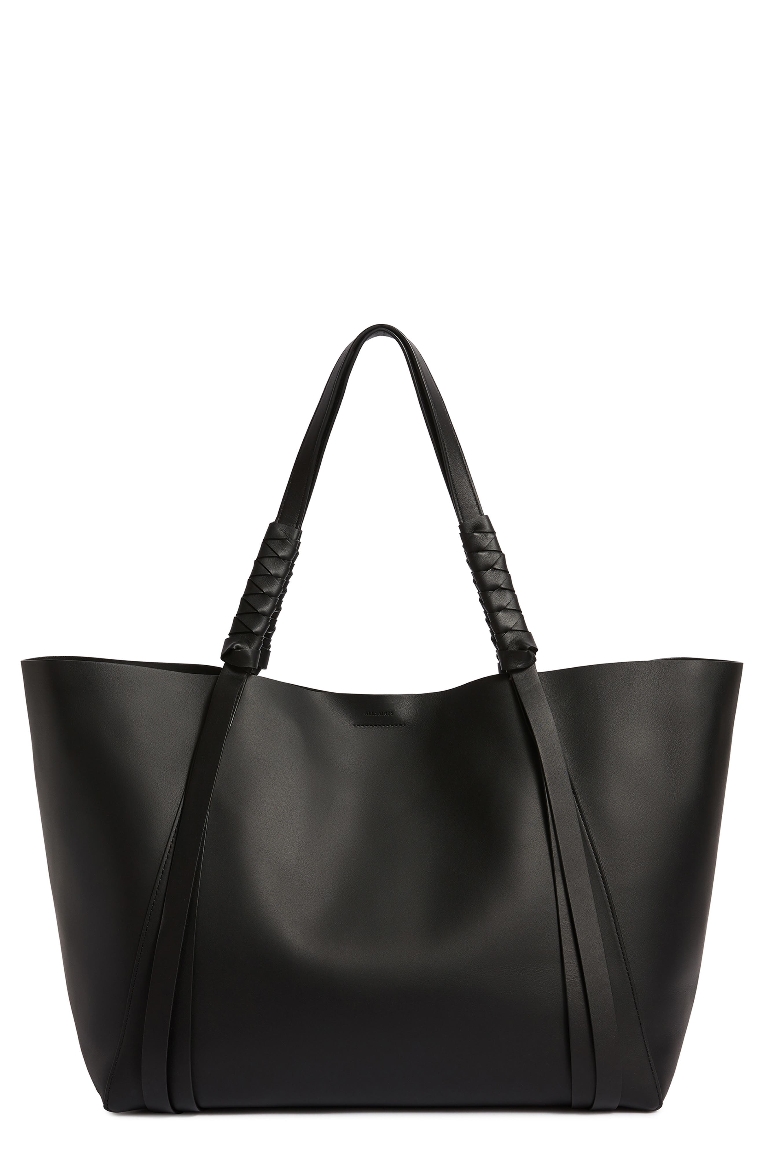 Voltaire Leather Tote,                             Main thumbnail 1, color,                             BLACK