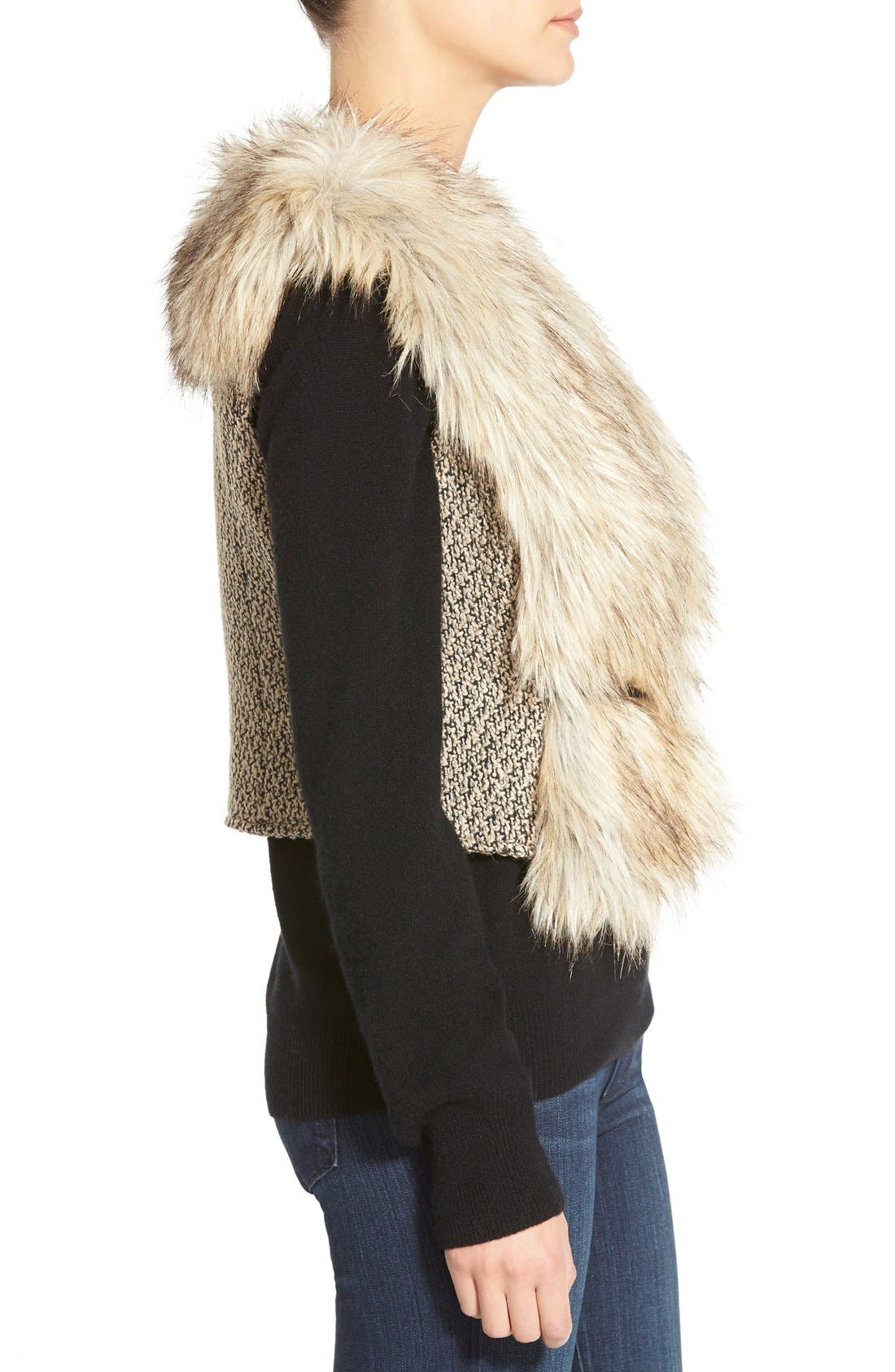 Tweed & Faux Fur Vest,                             Alternate thumbnail 5, color,                             200