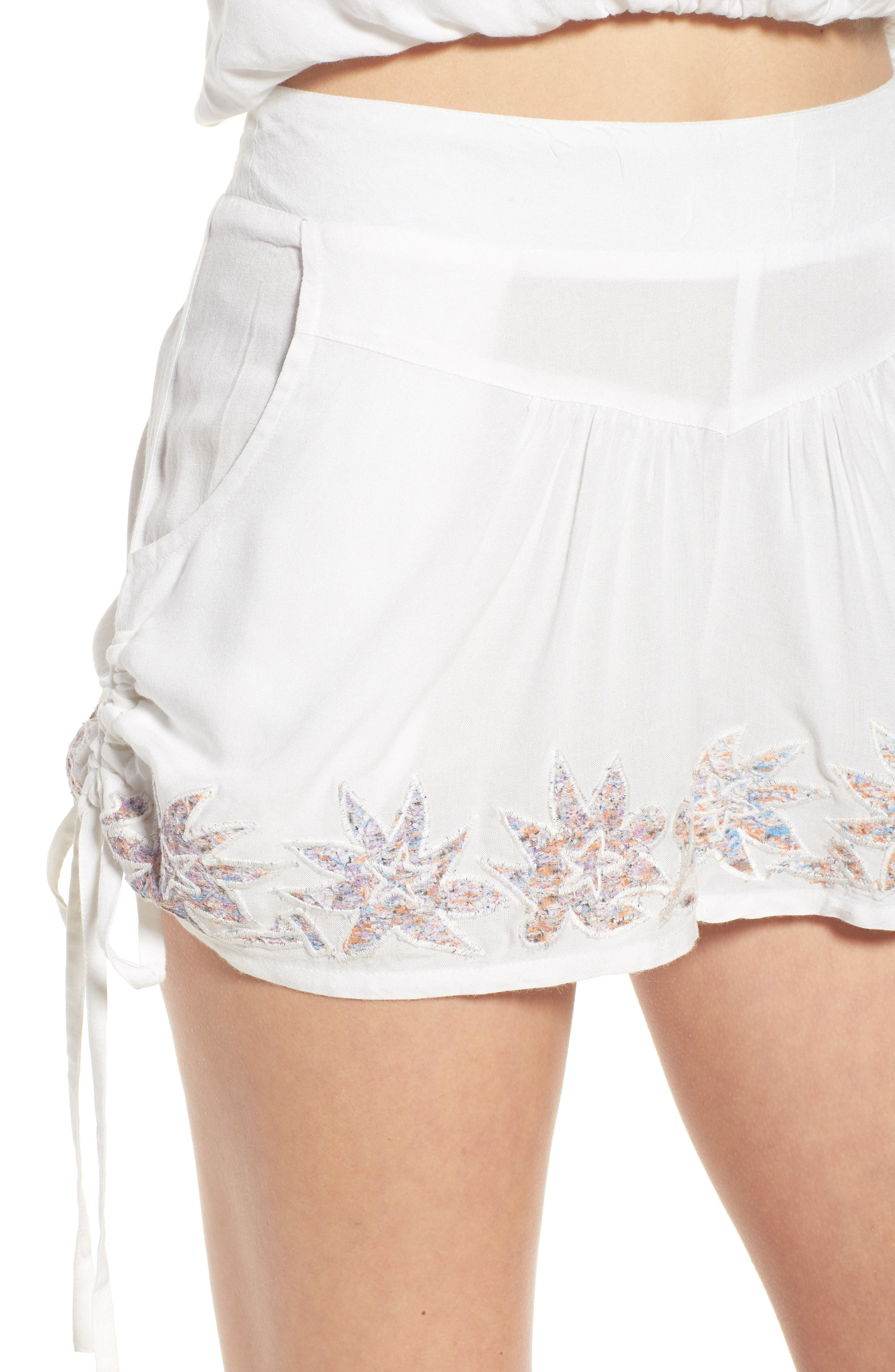Lotus Love Side Tie Shorts,                             Alternate thumbnail 4, color,                             100