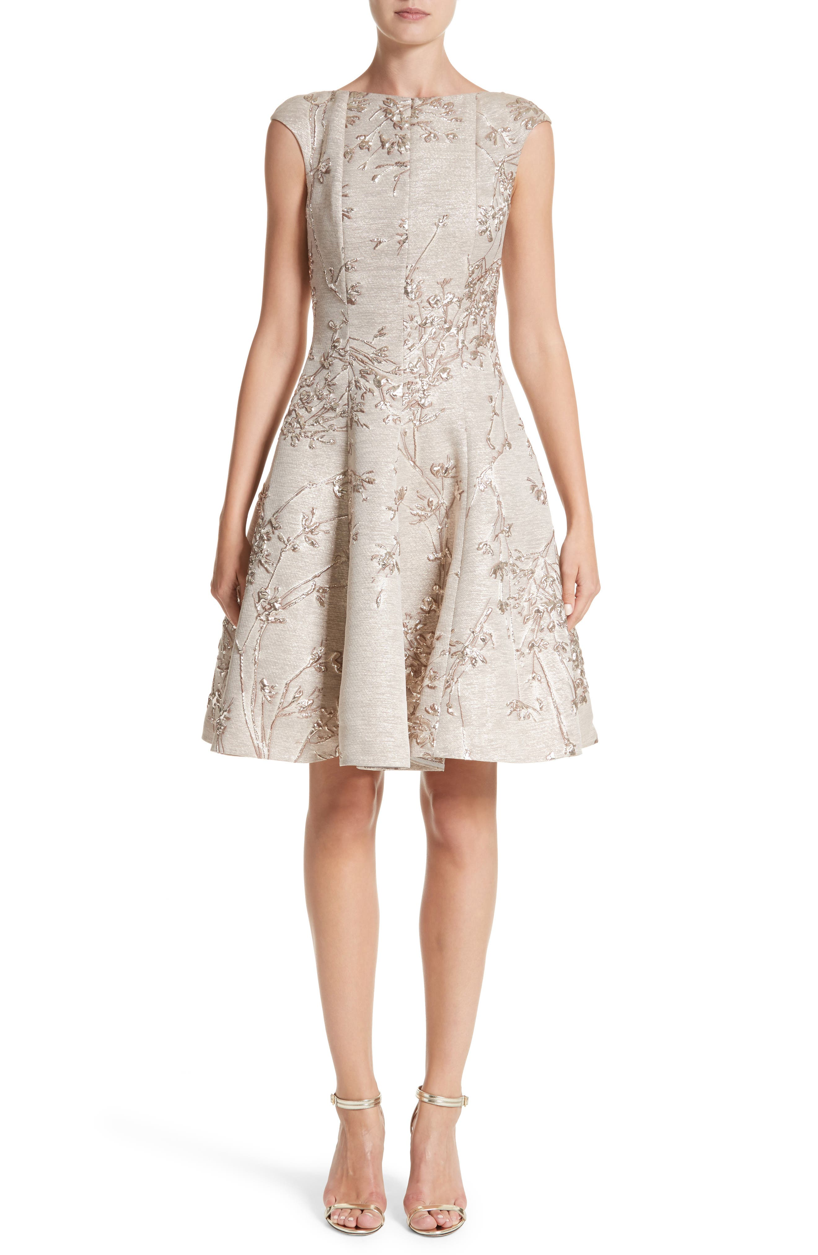 Metallic Twig Jacquard Dress,                             Main thumbnail 1, color,                             PLATIN
