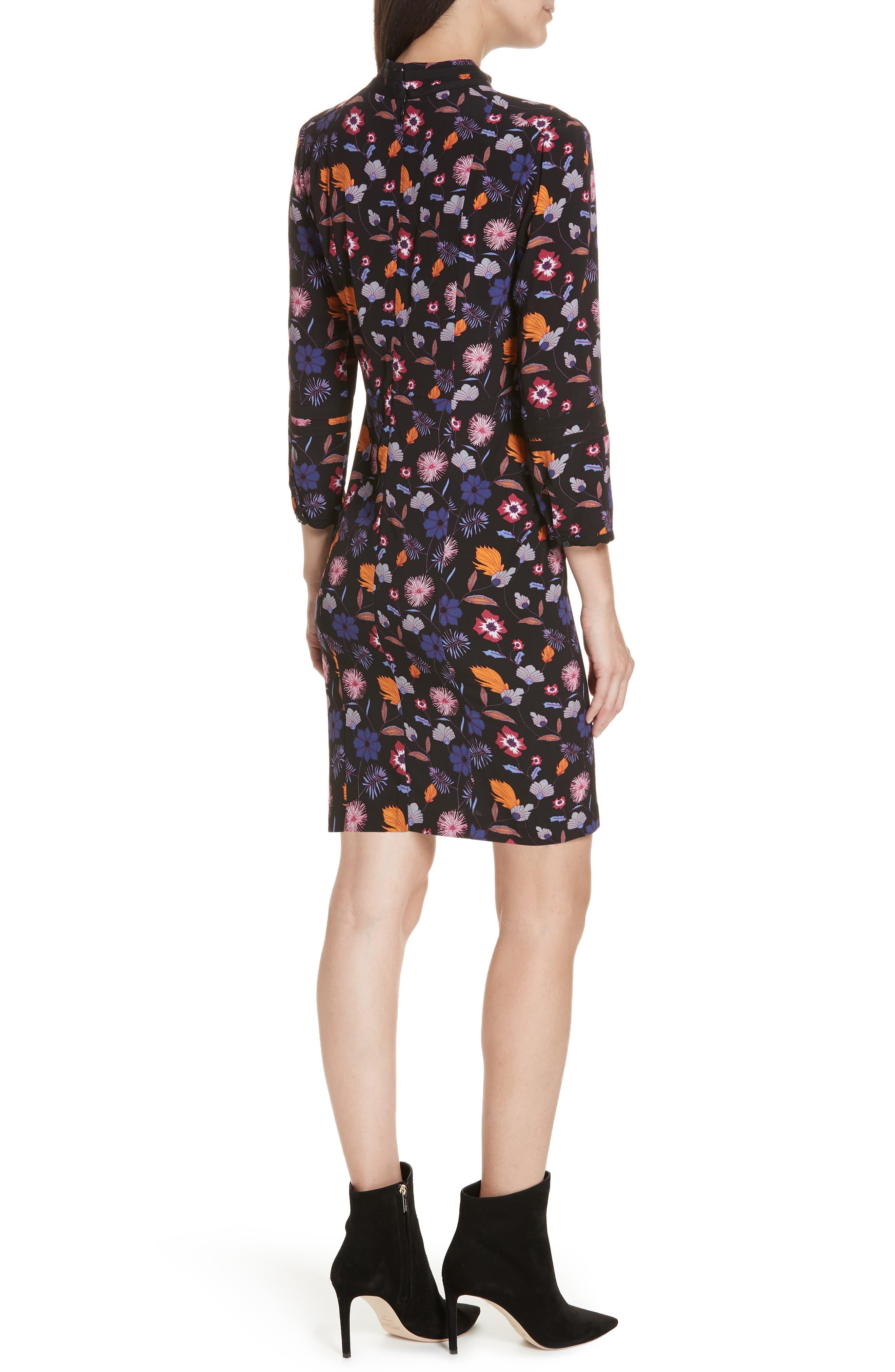 Maha High Neck Botanical Mini Dress,                             Alternate thumbnail 2, color,                             001