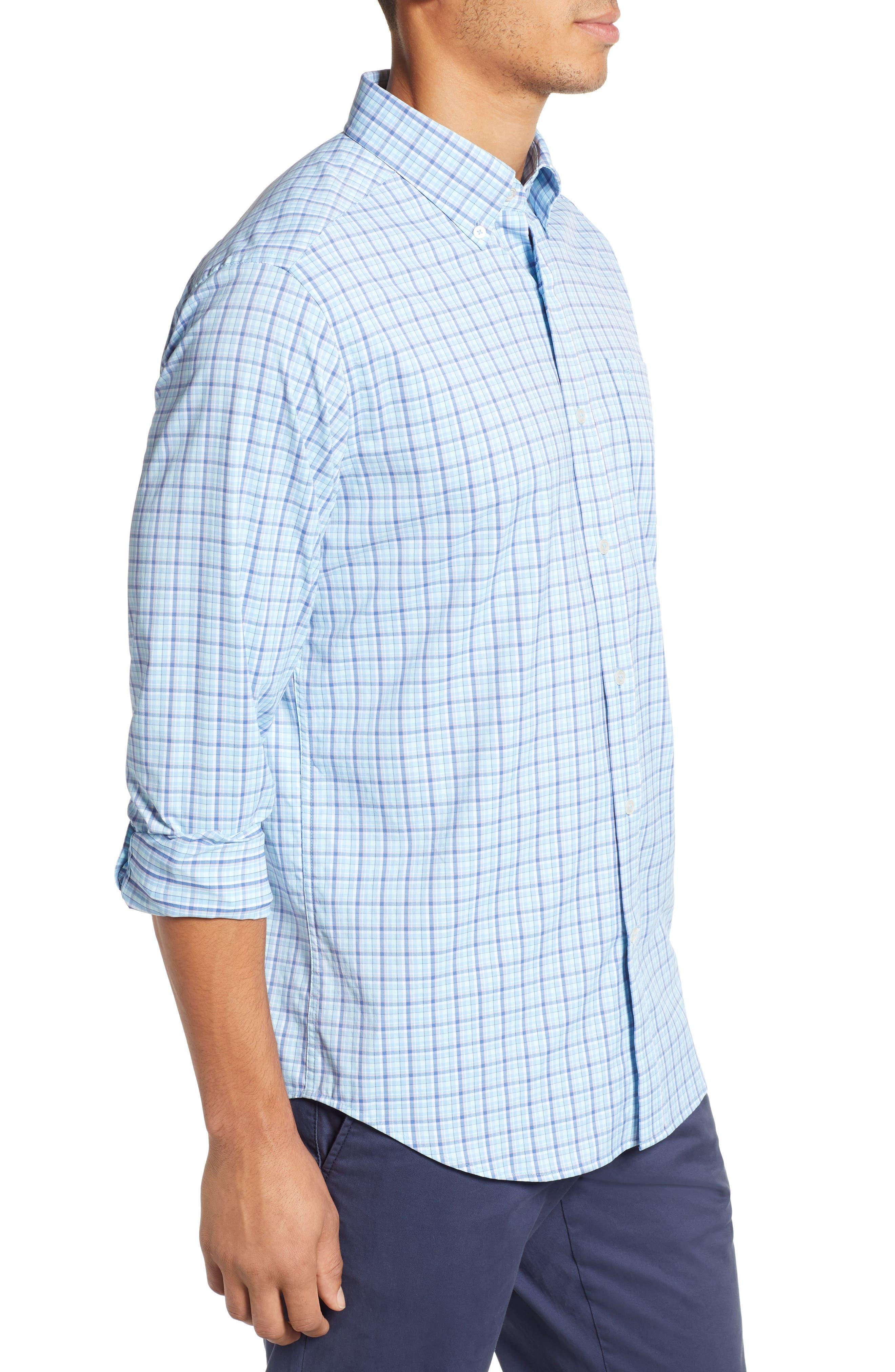 Staycation Intercoastal Regular Fit Plaid Performance Sport Shirt,                             Alternate thumbnail 4, color,                             SKY BLUE