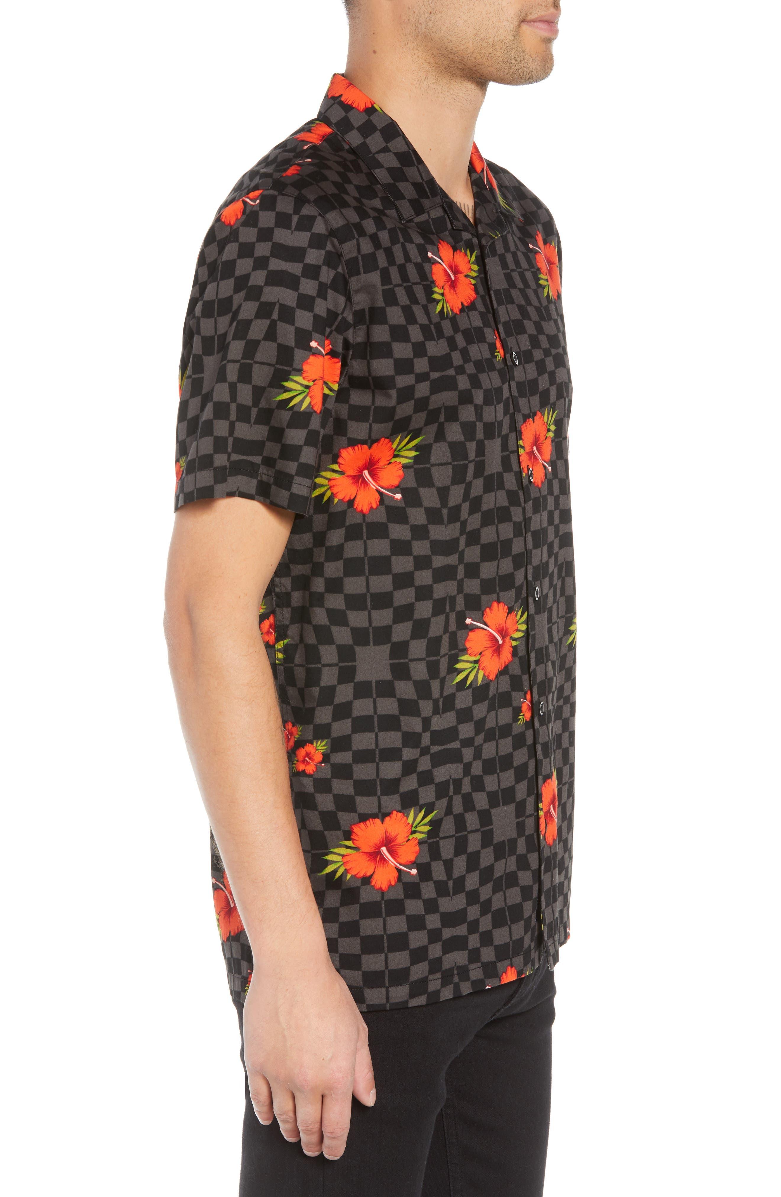 VANS,                             Warp Tropic Checks Camp Shirt,                             Alternate thumbnail 3, color,                             001