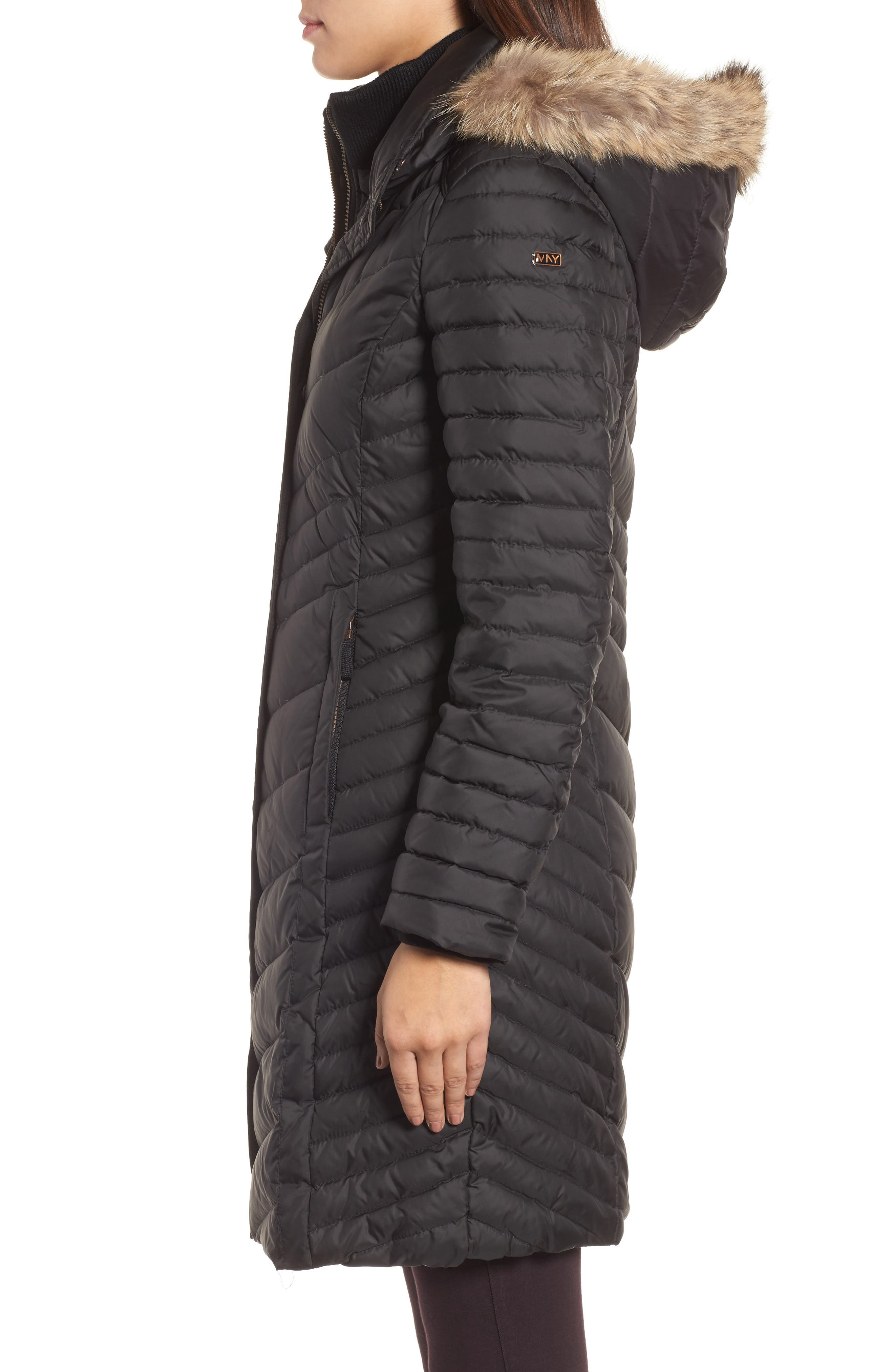 Chevron Quilted Coat with Genuine Coyote Fur Trim,                             Alternate thumbnail 7, color,