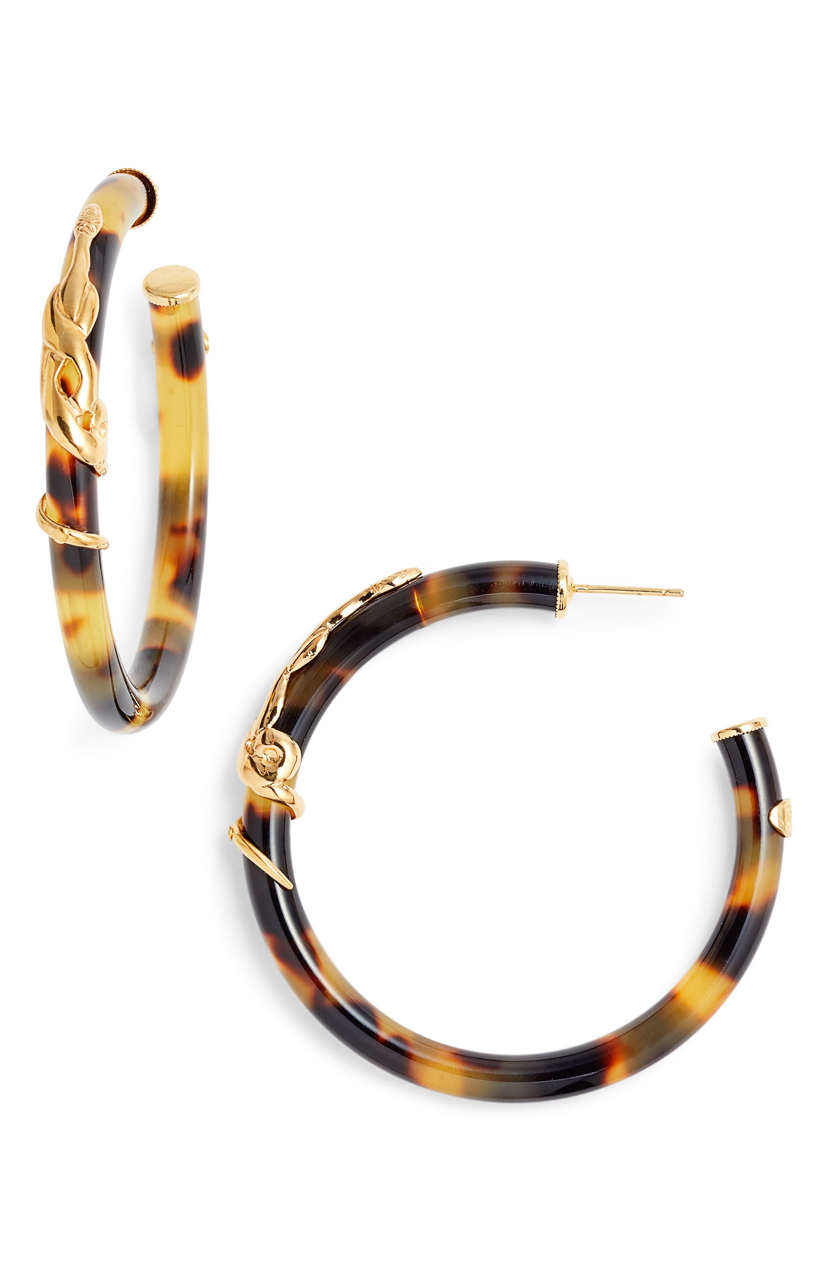 Cobra Hoop Earrings,                         Main,                         color, TORTOISE/ TIGE