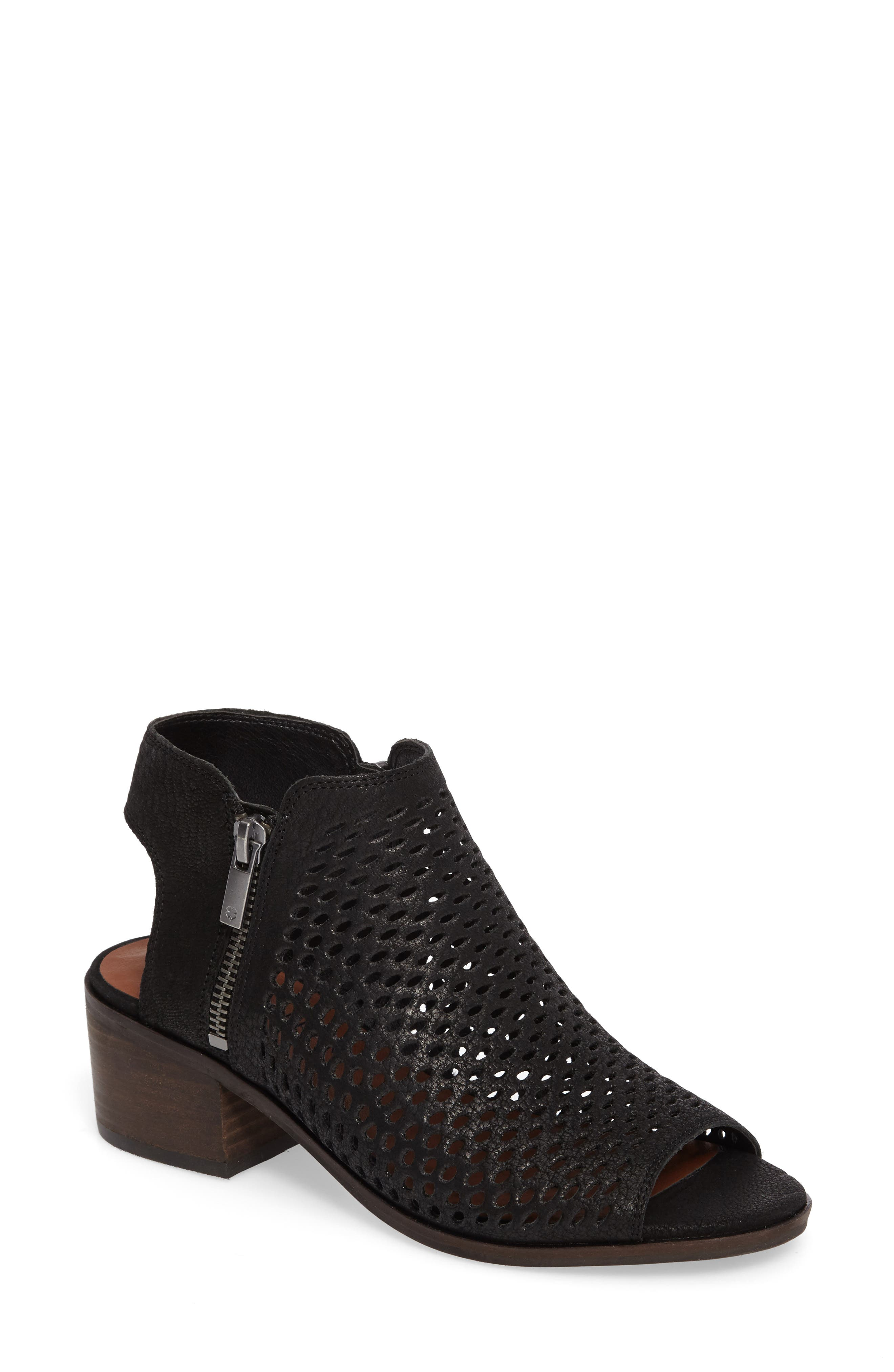 Nelwyna Perforated Bootie Sandal,                             Main thumbnail 1, color,                             001