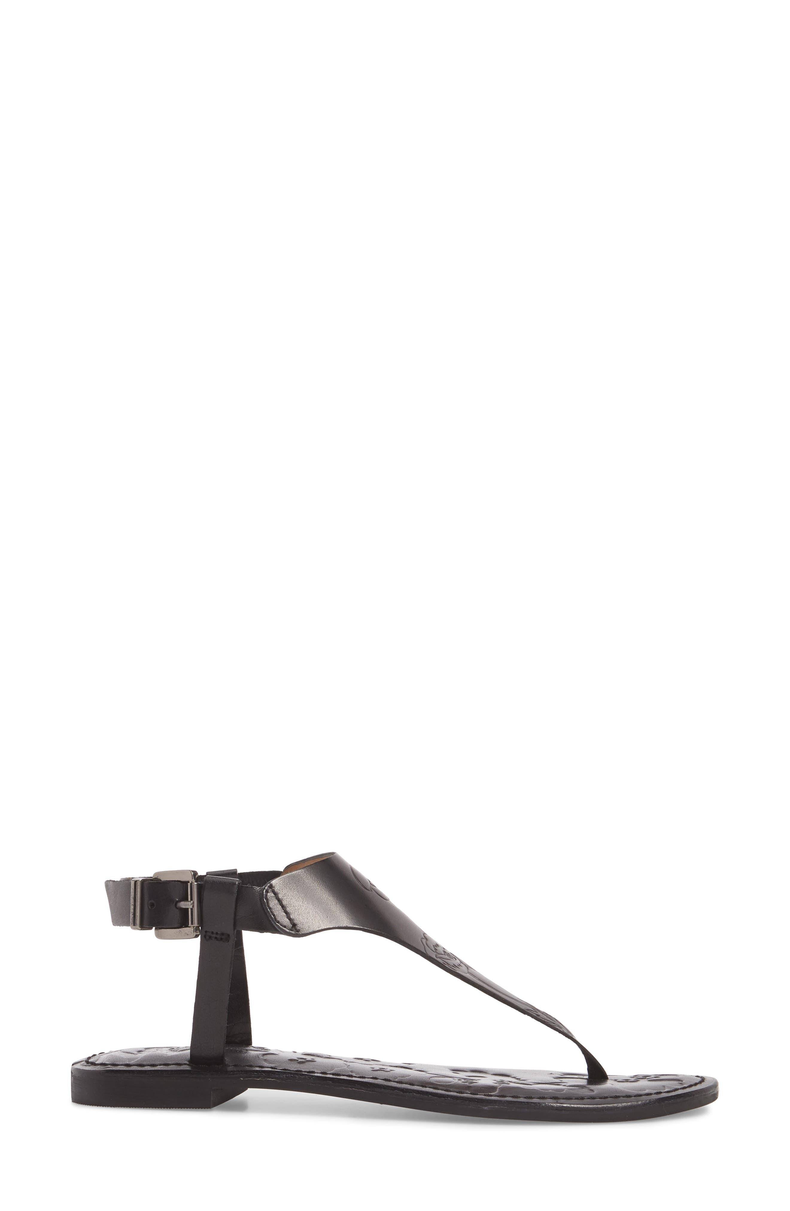 Laxmi Embossed Sandal,                             Alternate thumbnail 3, color,                             BLACK LEATHER