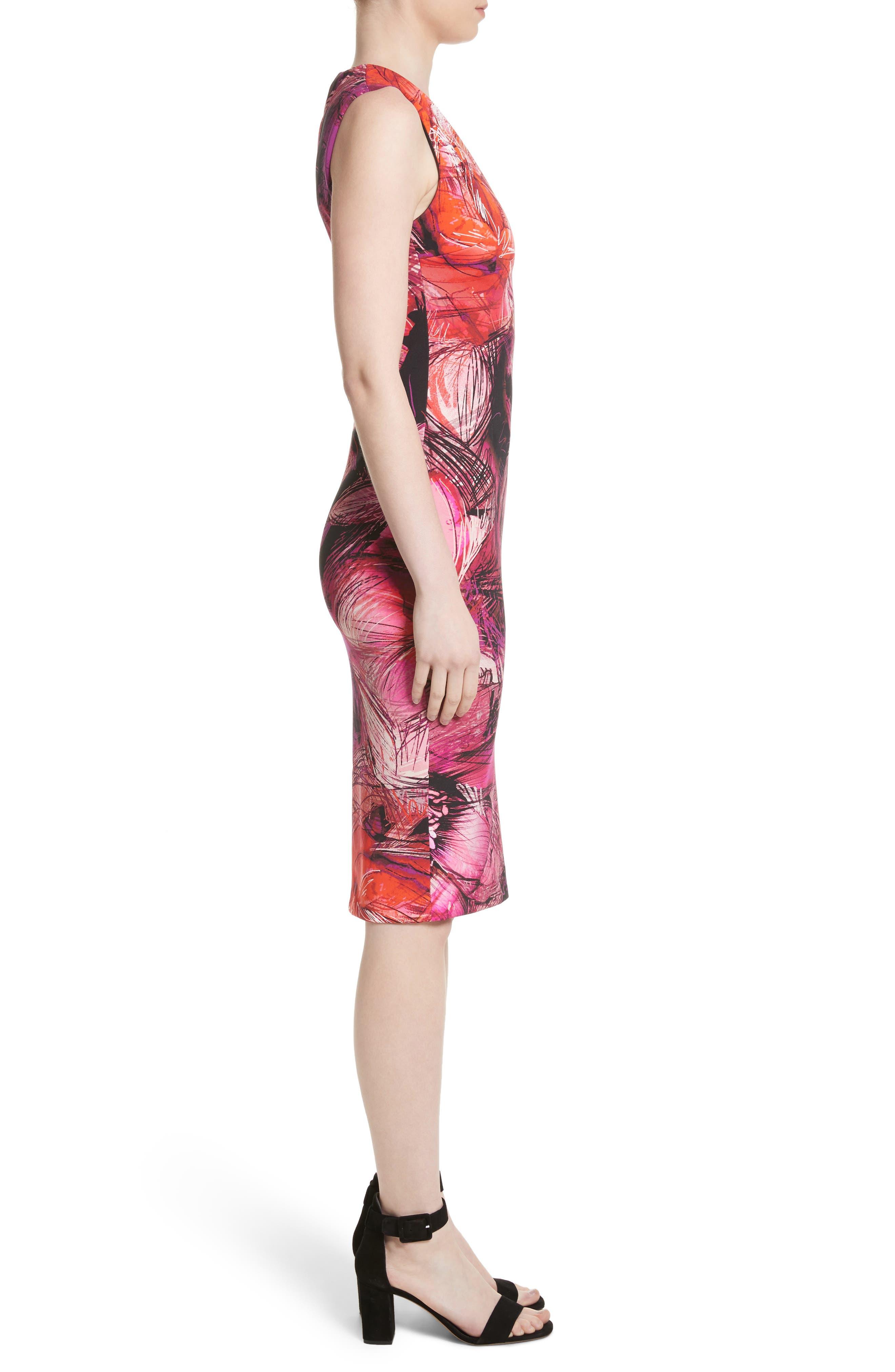 Print Sheath Dress,                             Alternate thumbnail 3, color,                             650