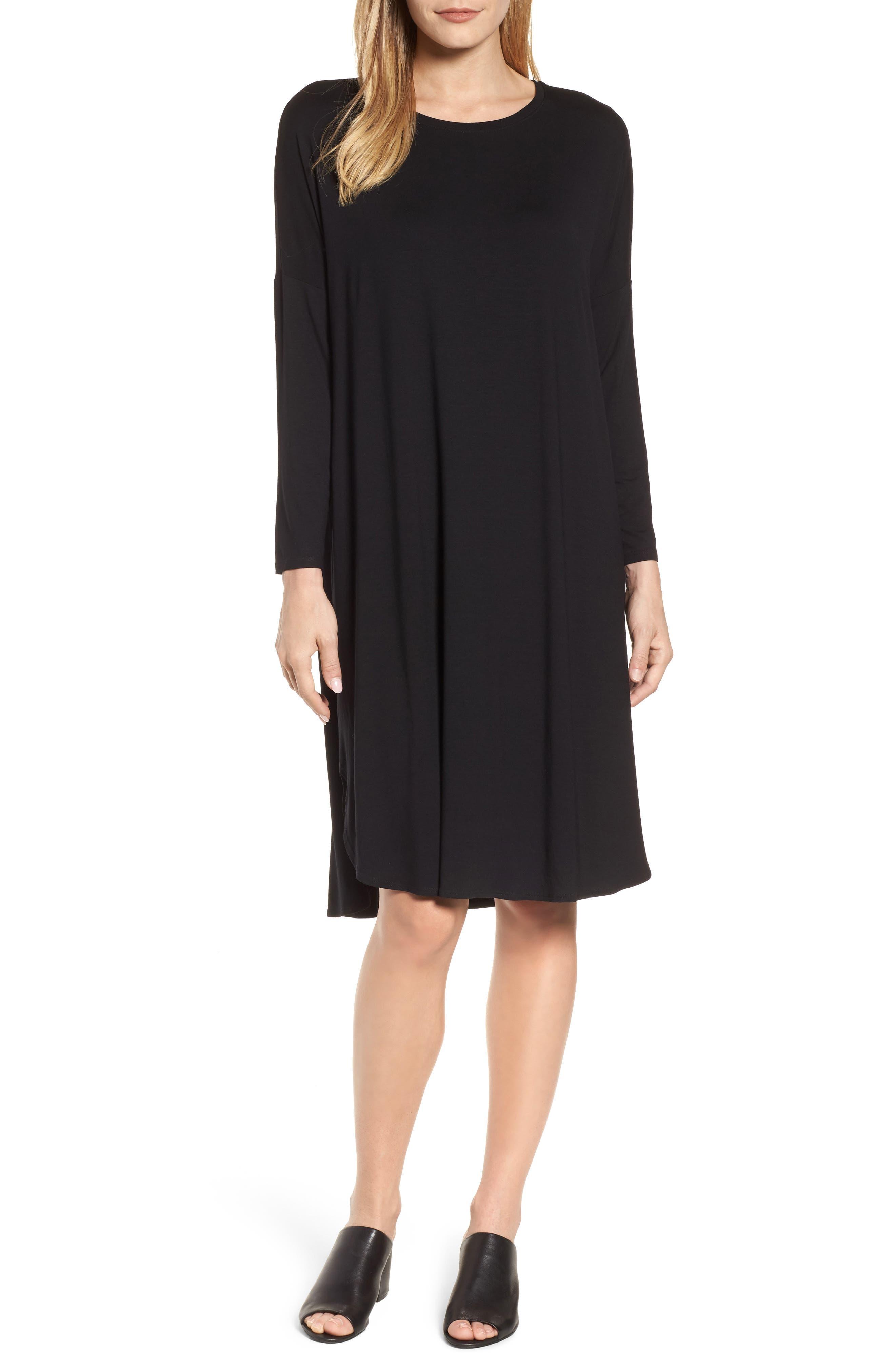 Shirttail Jersey Shift Dress,                             Main thumbnail 1, color,                             001
