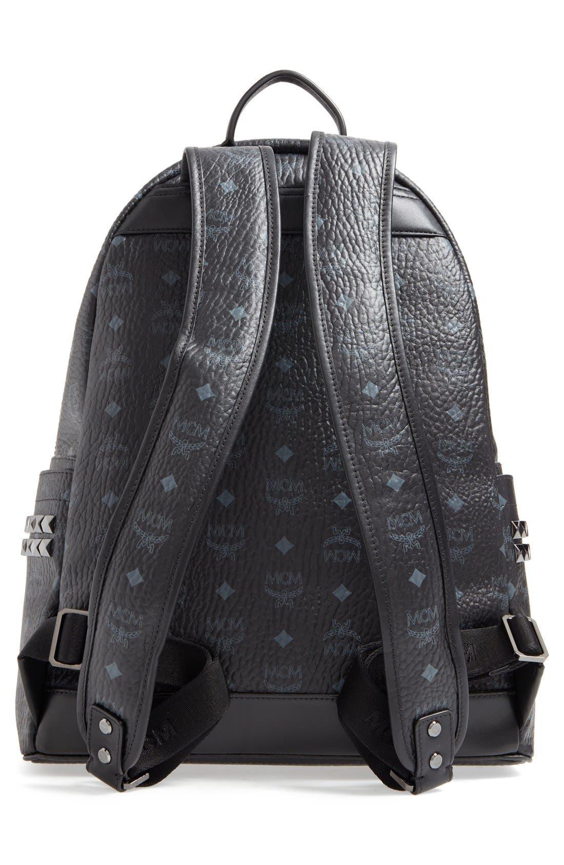 MediumStark Visetos Coated Canvas Backpack,                             Alternate thumbnail 2, color,                             BLACK