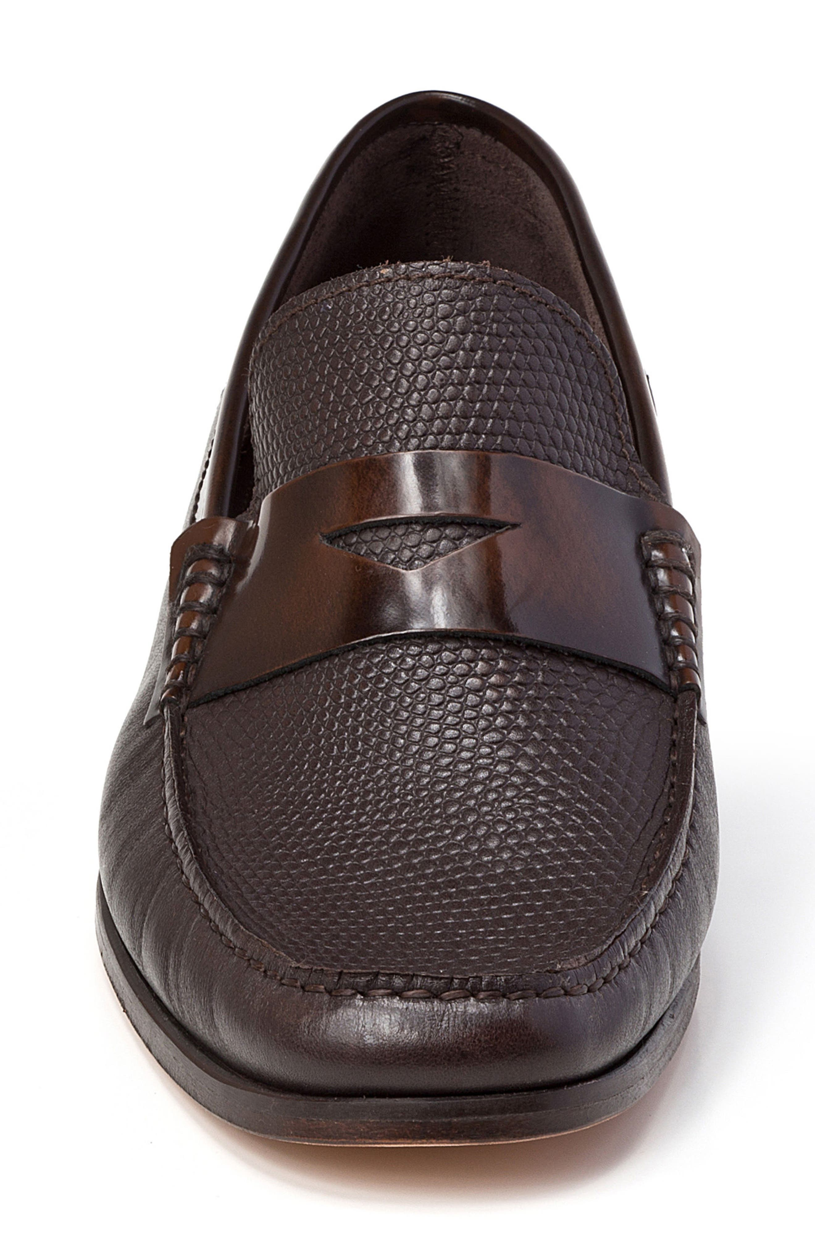 Bilbao Pebble Embossed Penny Loafer,                             Alternate thumbnail 4, color,                             BROWN