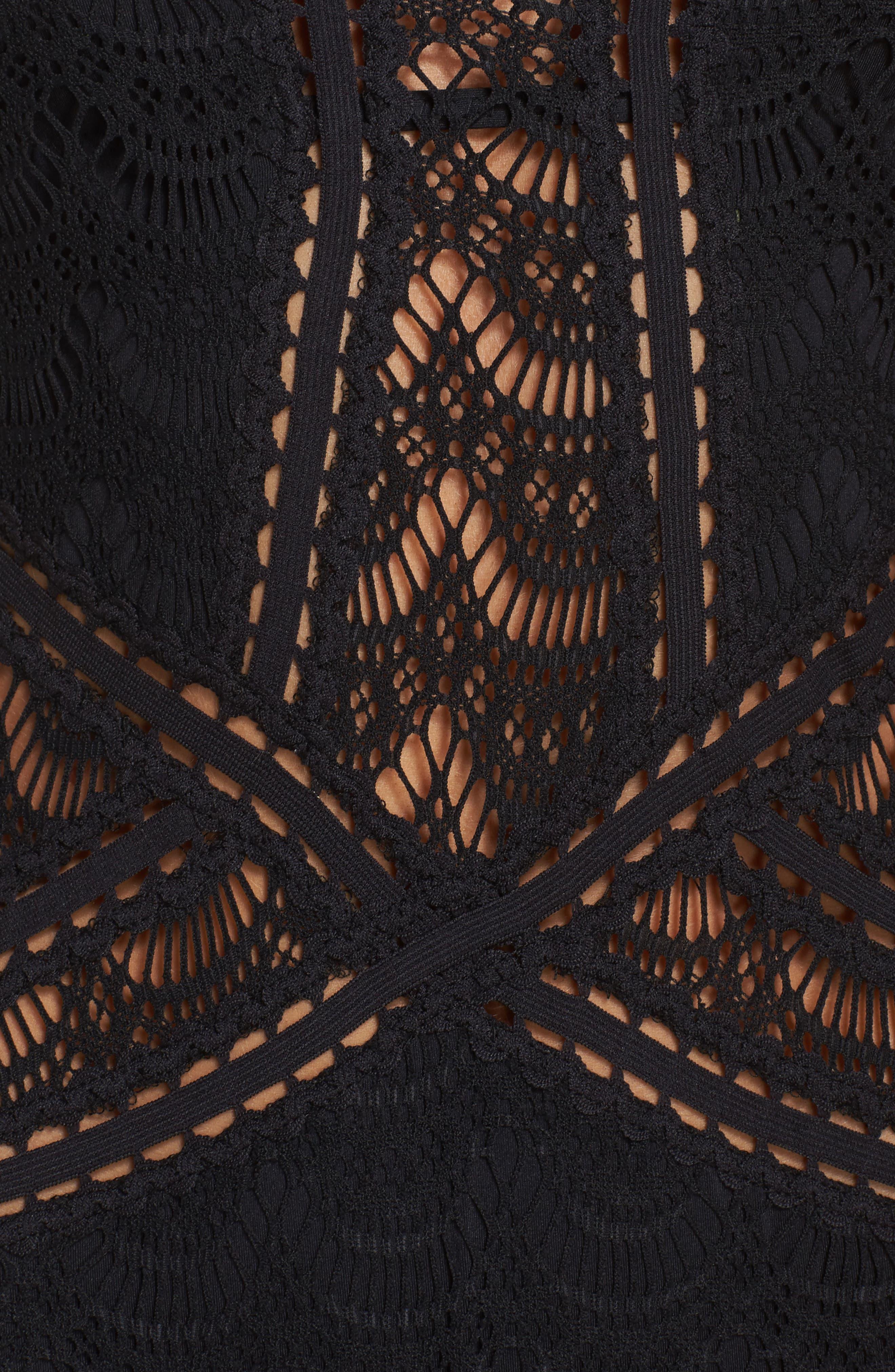 Crochet One-Piece Swimsuit,                             Alternate thumbnail 5, color,                             BLACK