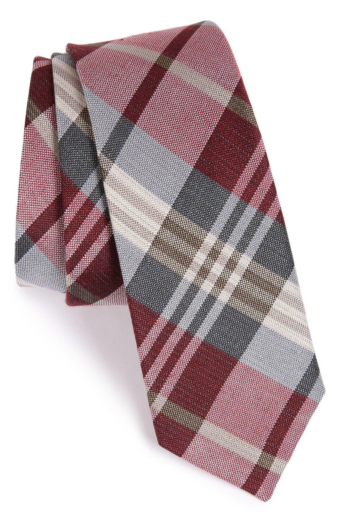 THE TIE BAR Plaid Silk & Linen Tie, Main, color, BURGUNDY