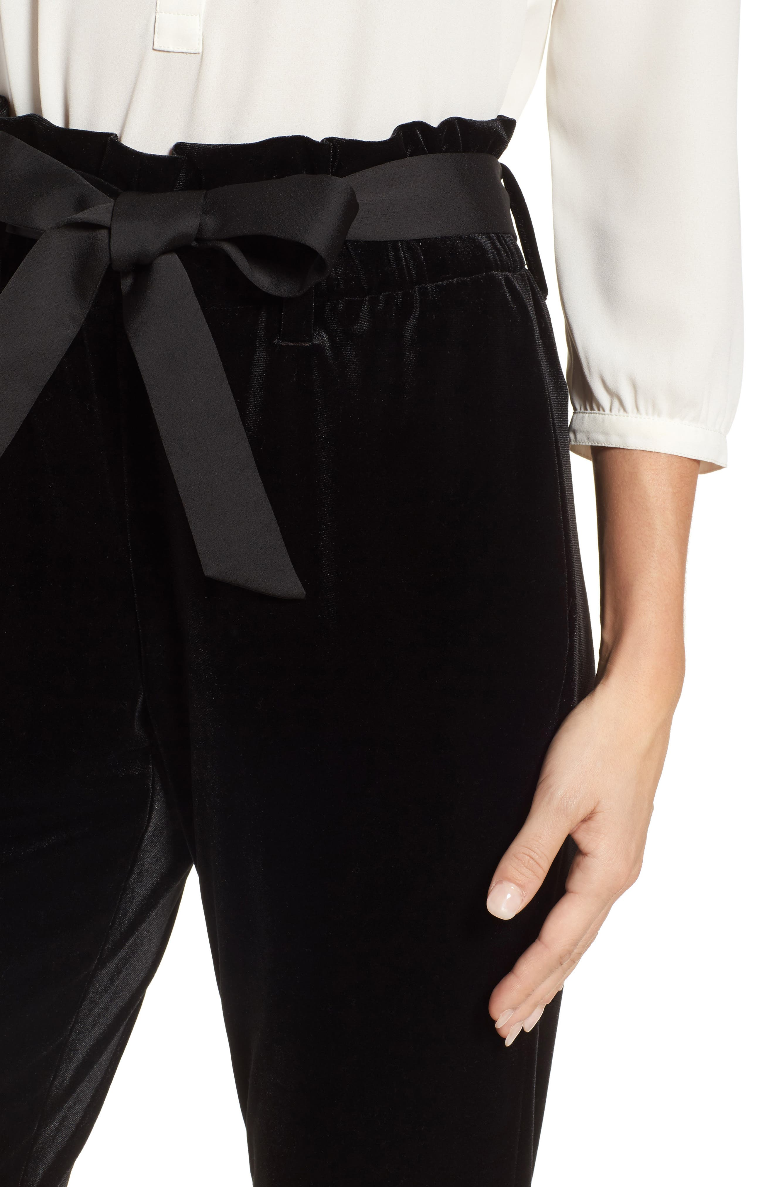 Tie Waist Velvet Pants,                             Alternate thumbnail 4, color,                             001