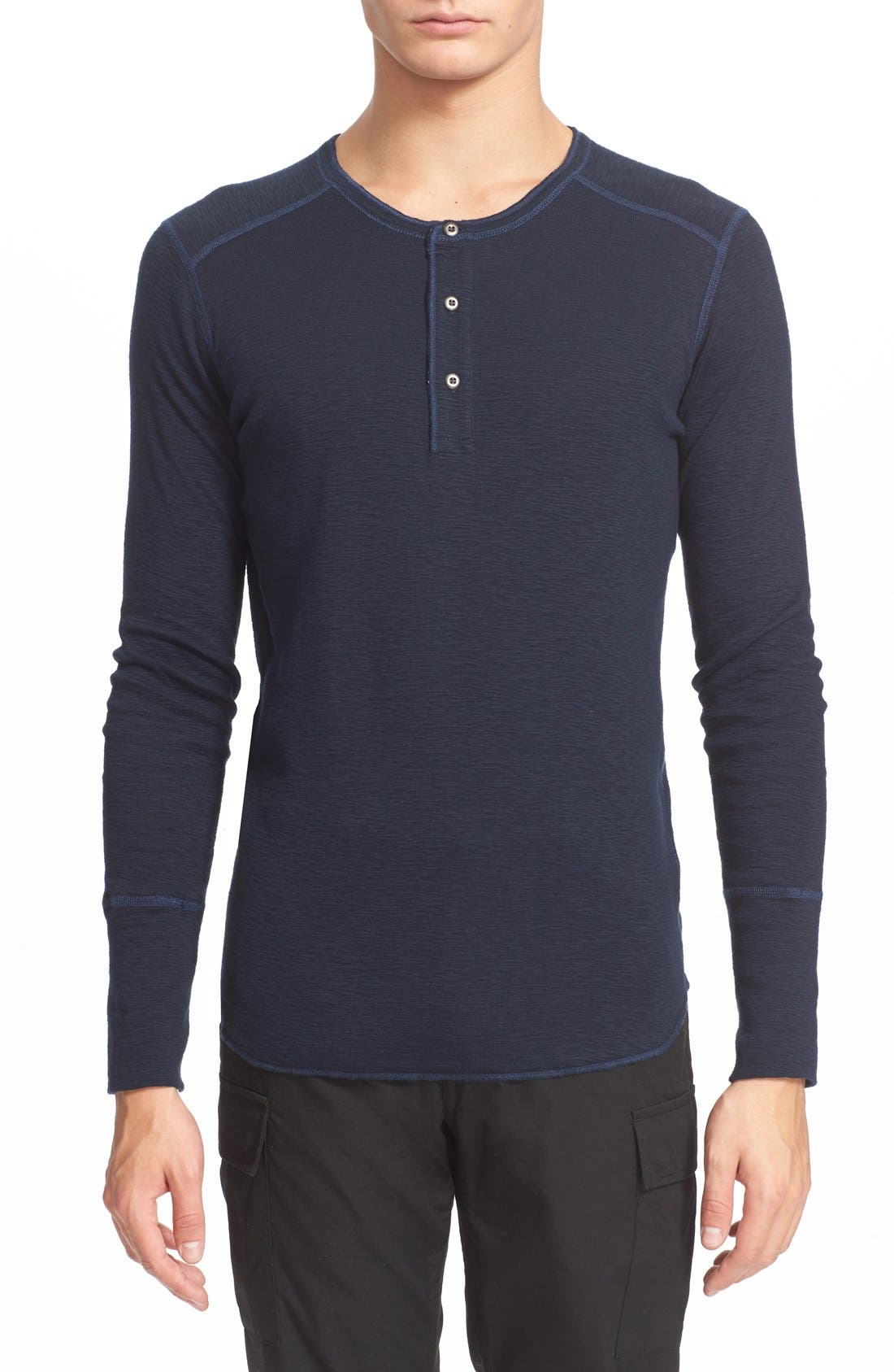 WINGS + HORNS 'Base' Long Sleeve Henley in Navy