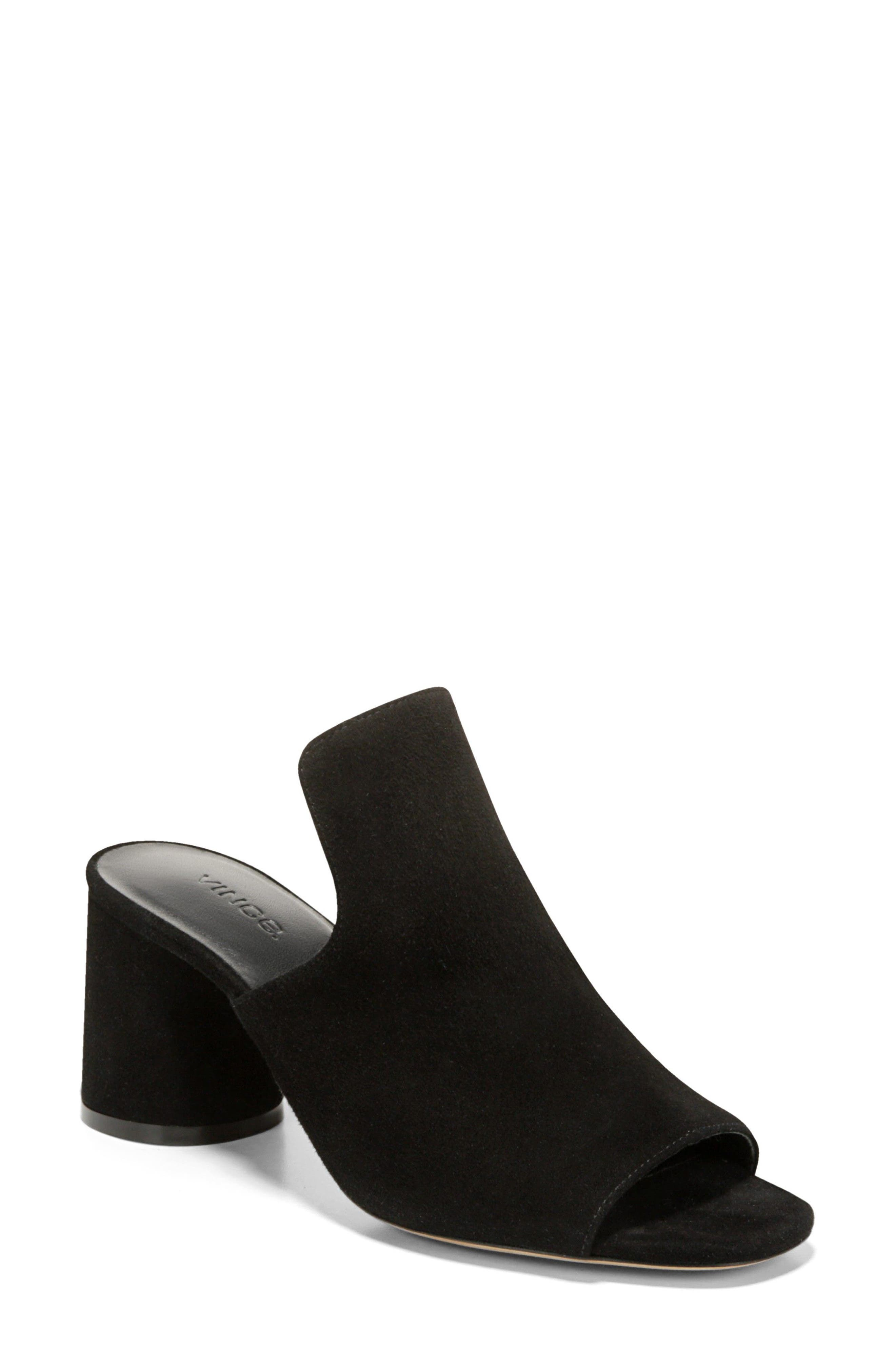 Tanay Loafer Mule,                             Main thumbnail 1, color,                             BLACK SUEDE LEATHER