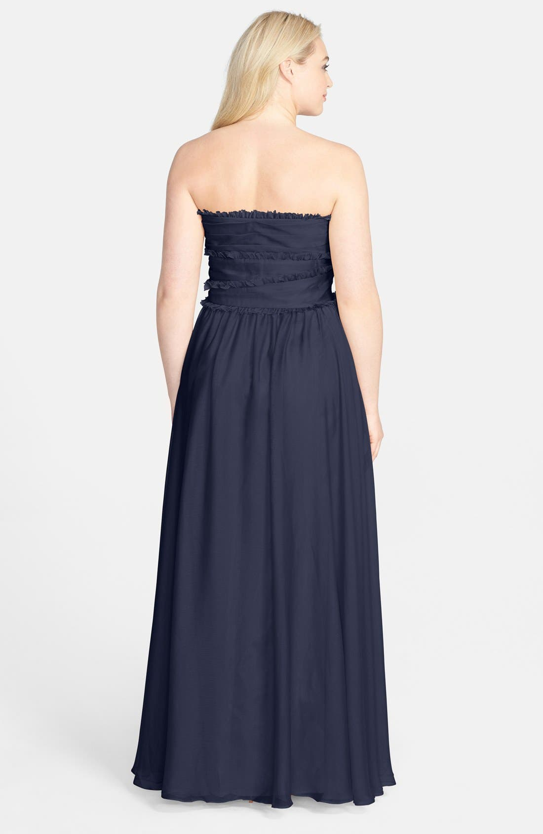 ML Monique Lhuillier Bridesmaids Strapless Chiffon Gown,                             Alternate thumbnail 26, color,