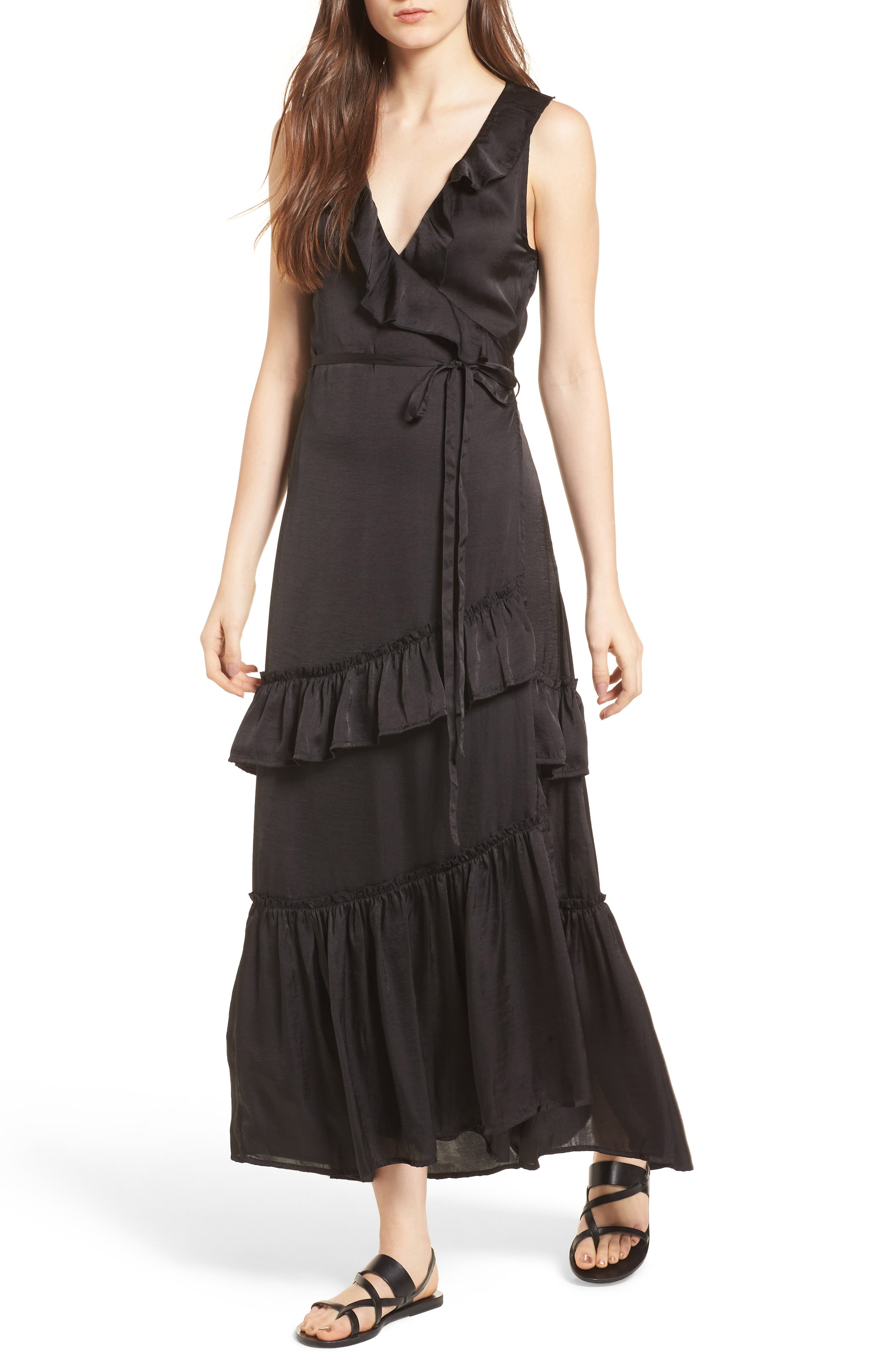 Ruffle Wrap Dress,                             Main thumbnail 1, color,                             001